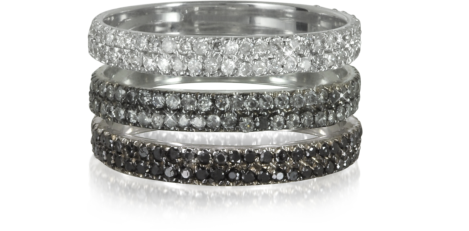 BERNARD DELETTREZ – Triple Band 18K White Gold Ring with White, Grey and Black Diamonds