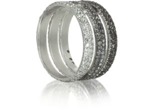 BERNARD DELETTREZ-Triple Band 18K White Gold Ring w-White-Grey and Black Diamonds-002