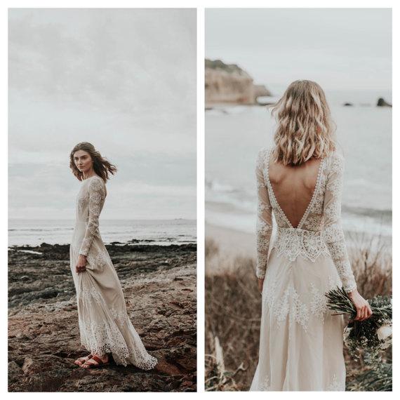 Dreamers and Lovers – Lisa Lace Long Sleeve Boho Beach Wedding Dress ...