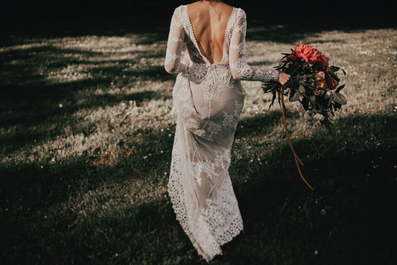 Dreamers and Lovers – Lisa Lace Long Sleeve Boho Beach Wedding Dress