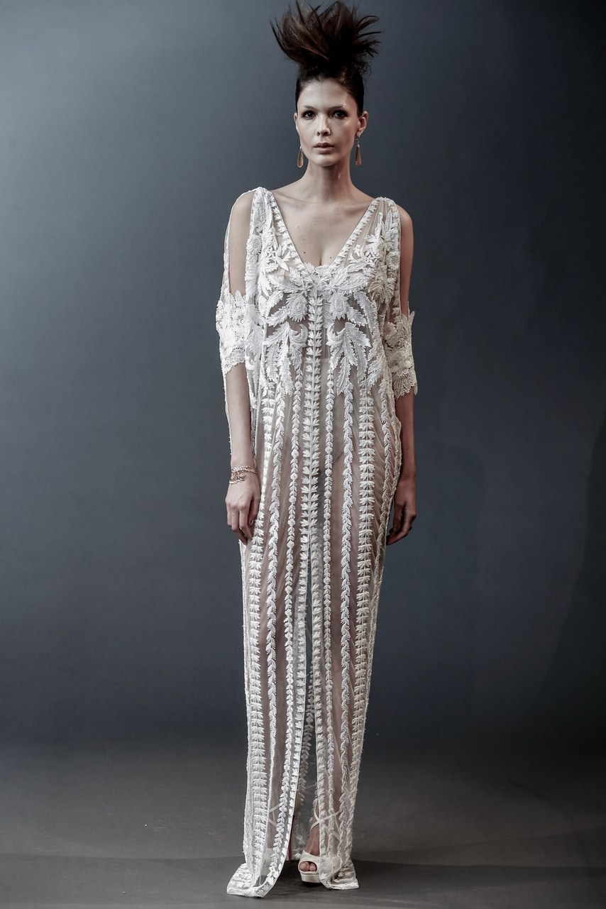 Naeem Khan - Alaska - deco beaded crystal and sequin column gown