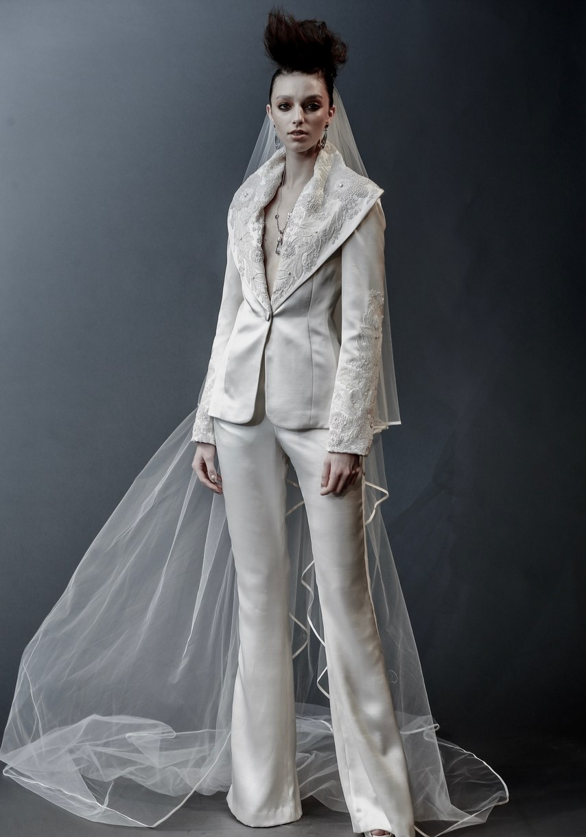 Naeem Khan - Austin - hammered satin jacket with beaded lapel and matching pant
