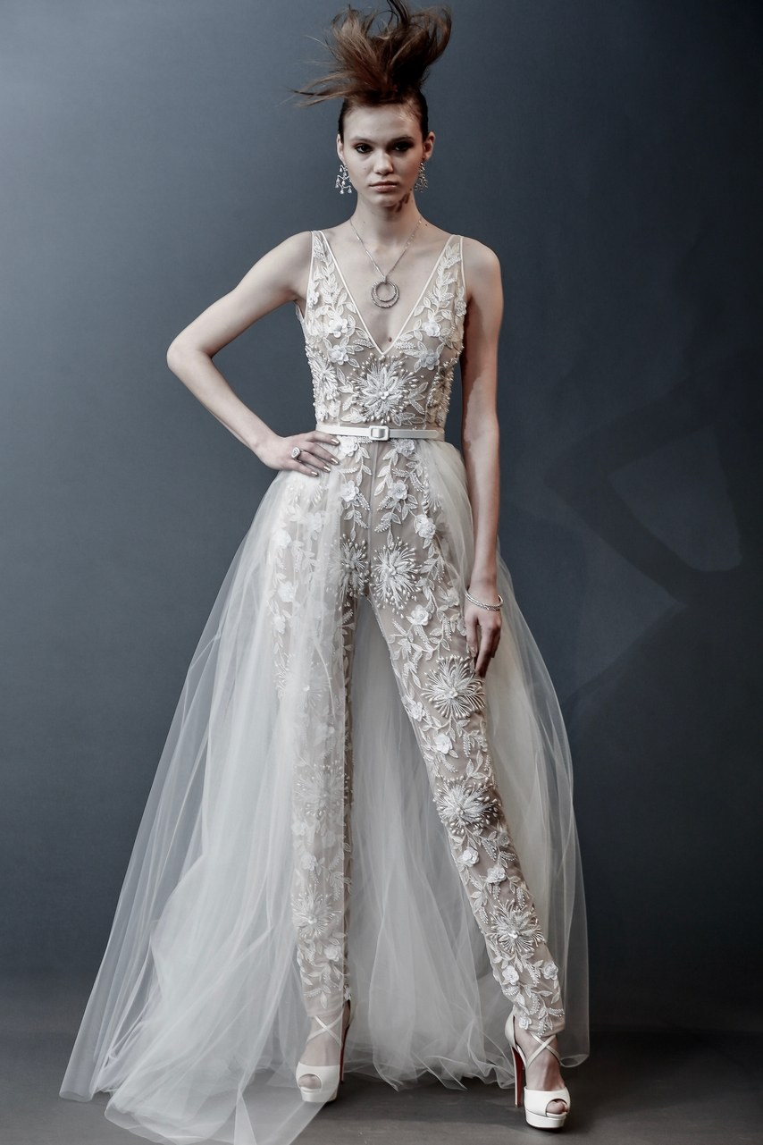 Naeem Khan - Bangkok - embroidered jumpsuit with crystal, pearl and sequin detail and tulle skirt