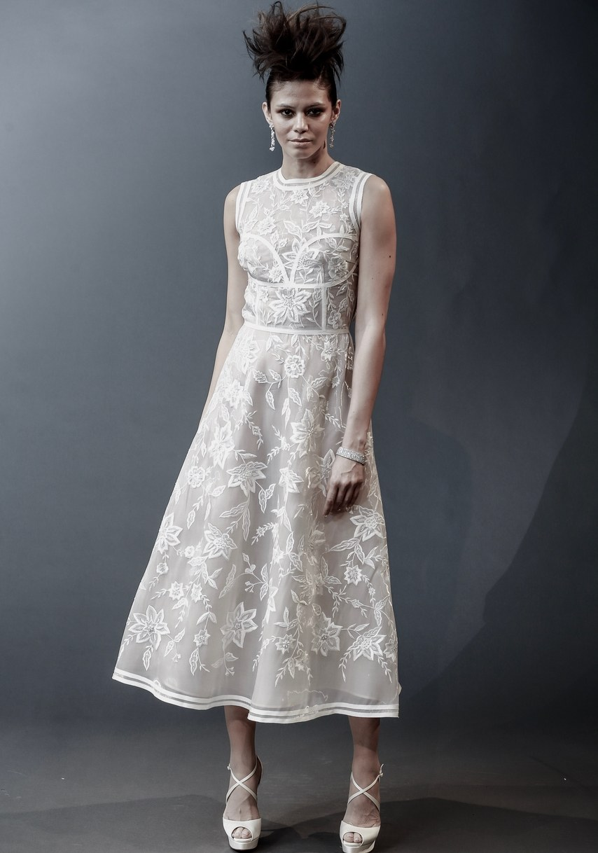 Naeem Khan - Boston - floral thread embroidered liquid organza tea length gown