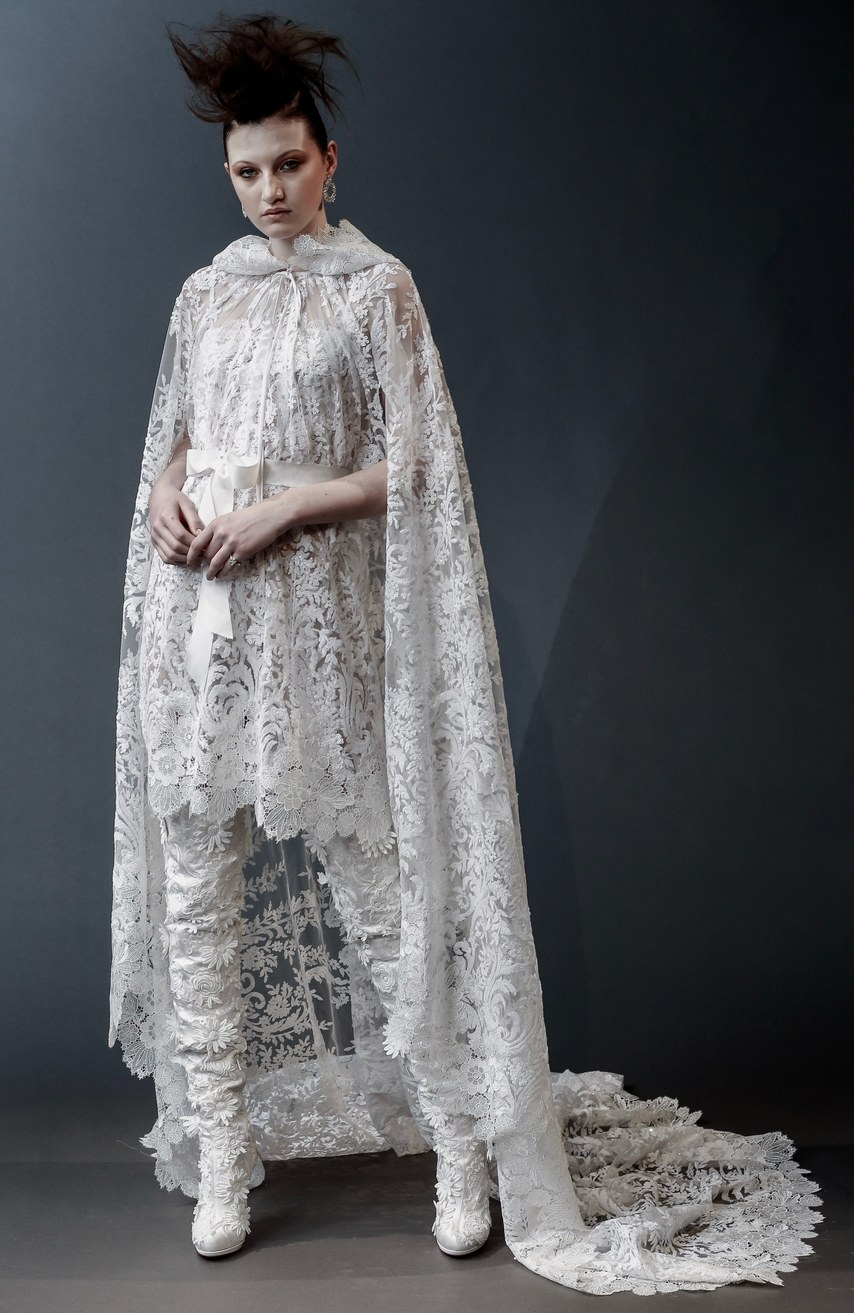Naeem Khan - Chelsea - sequin embroidered high low cape with floral lace detail and dress