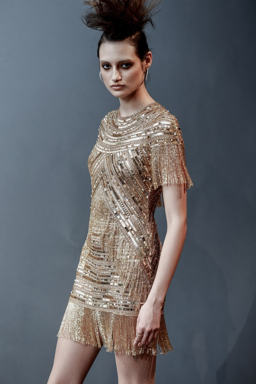 Naeem Khan - Essex - jewel neck embroidered gold fringe after party dress
