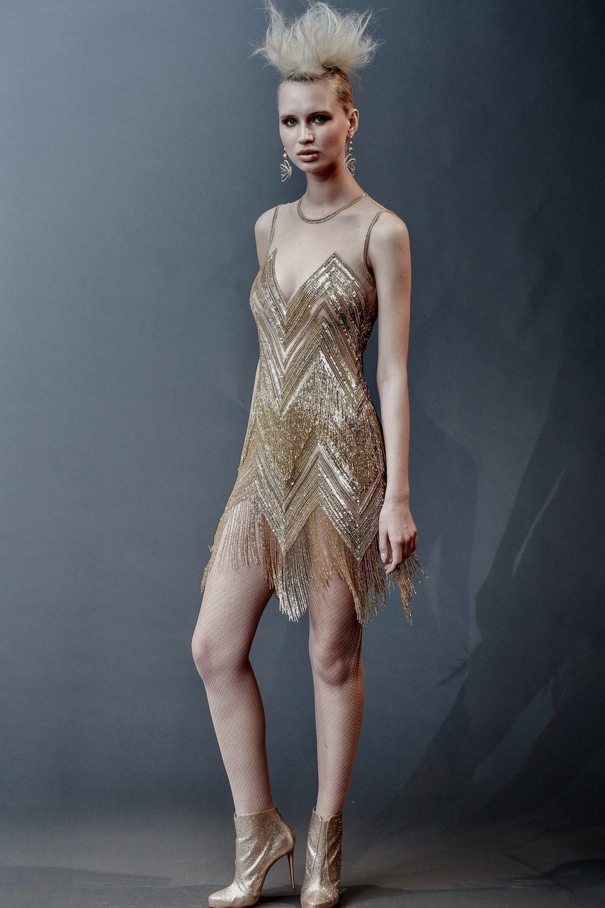 Naeem Khan - Lenox - gold beaded fringe illusion after party dress