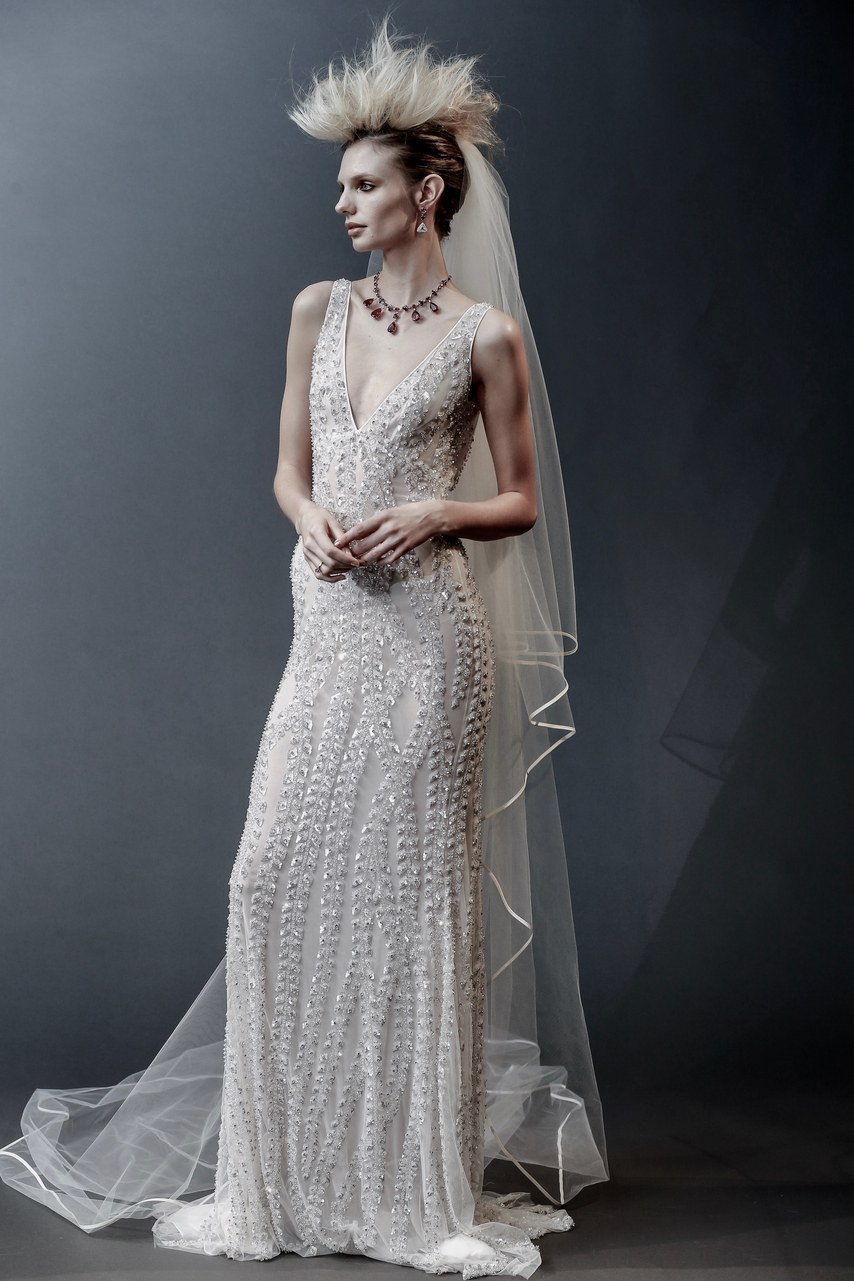 Naeem Khan - Lyric - crystal and sequin v-neck gown