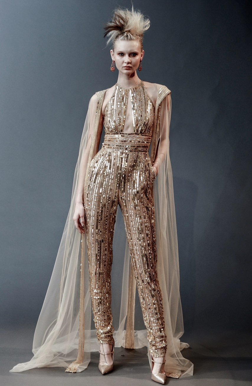 Naeem Khan - Mondrian - gold sequin and beaded jumpsuit with keyhole back and tulle cape