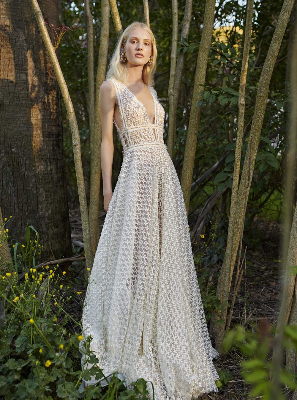 Mondo Bridal - COSTARELLOS BRIDAL SPRING 2019 - Flower Lace A-Line Dress