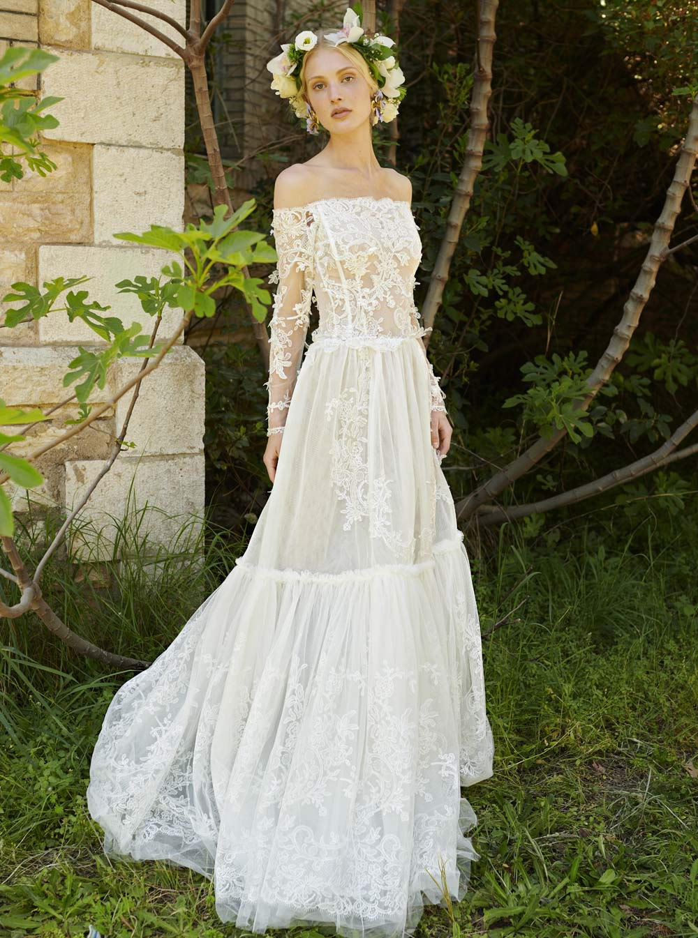 Mondo Bridal - COSTARELLOS BRIDAL SPRING 2019 - Lace Off-The-Shoulder Gown
