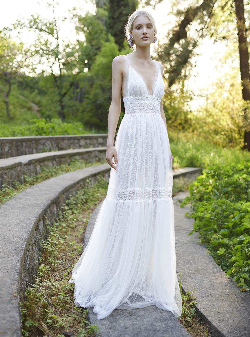 COSTARELLOS BRIDAL SPRING 2019 - V-Neck Fit & Flare Gown