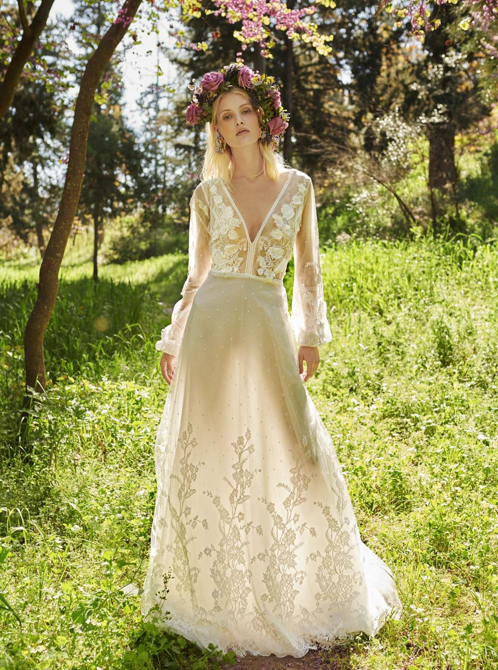Mondo Bridal - COSTARELLOS BRIDAL SPRING 2019 - V-Neck Tulle And Lace Gown
