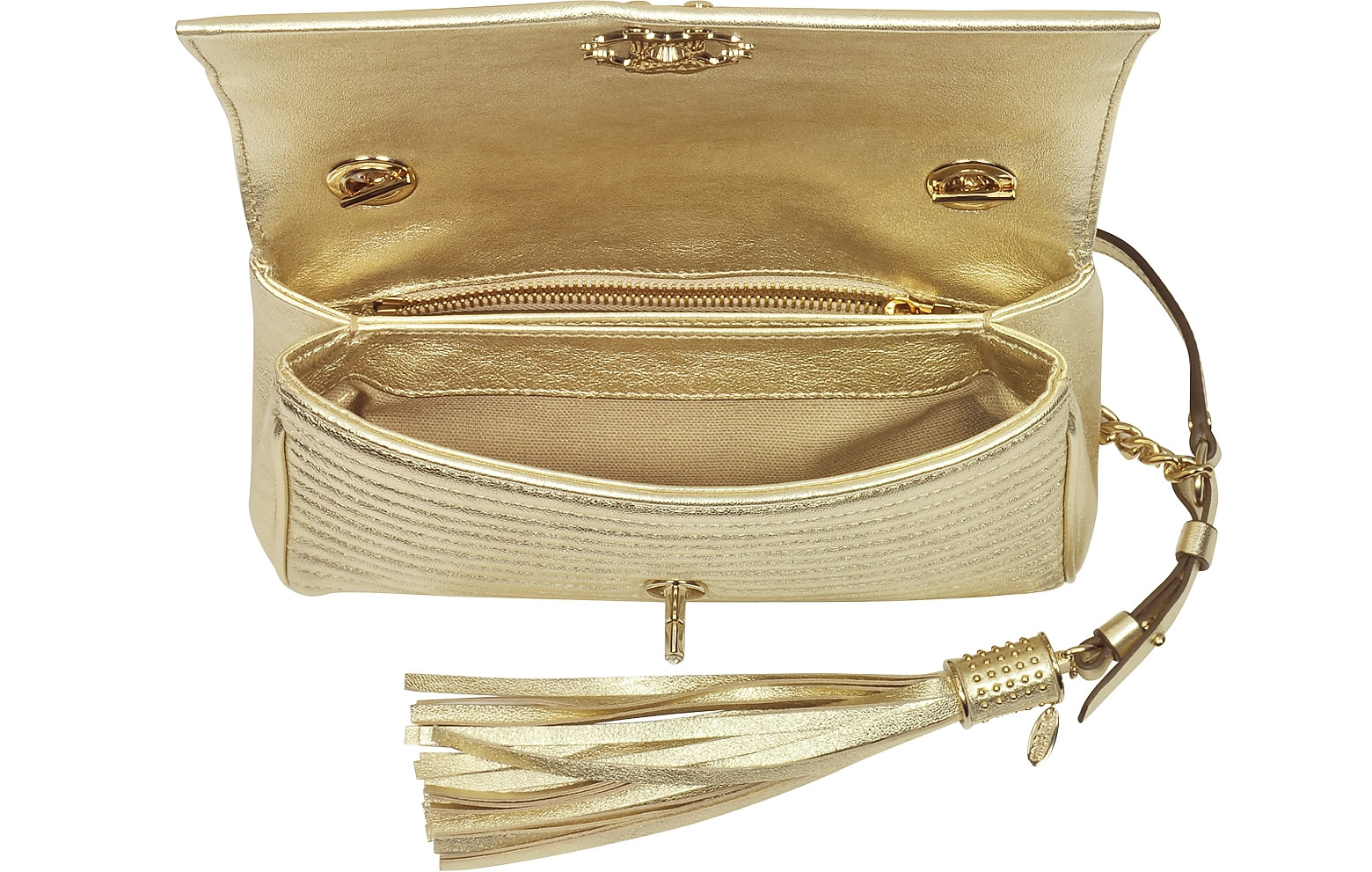 Mondo Bridal - ROBERTO CAVALLI - Platinum Gold Laminated Quilted Nappa Leather Small Shoulder Bag