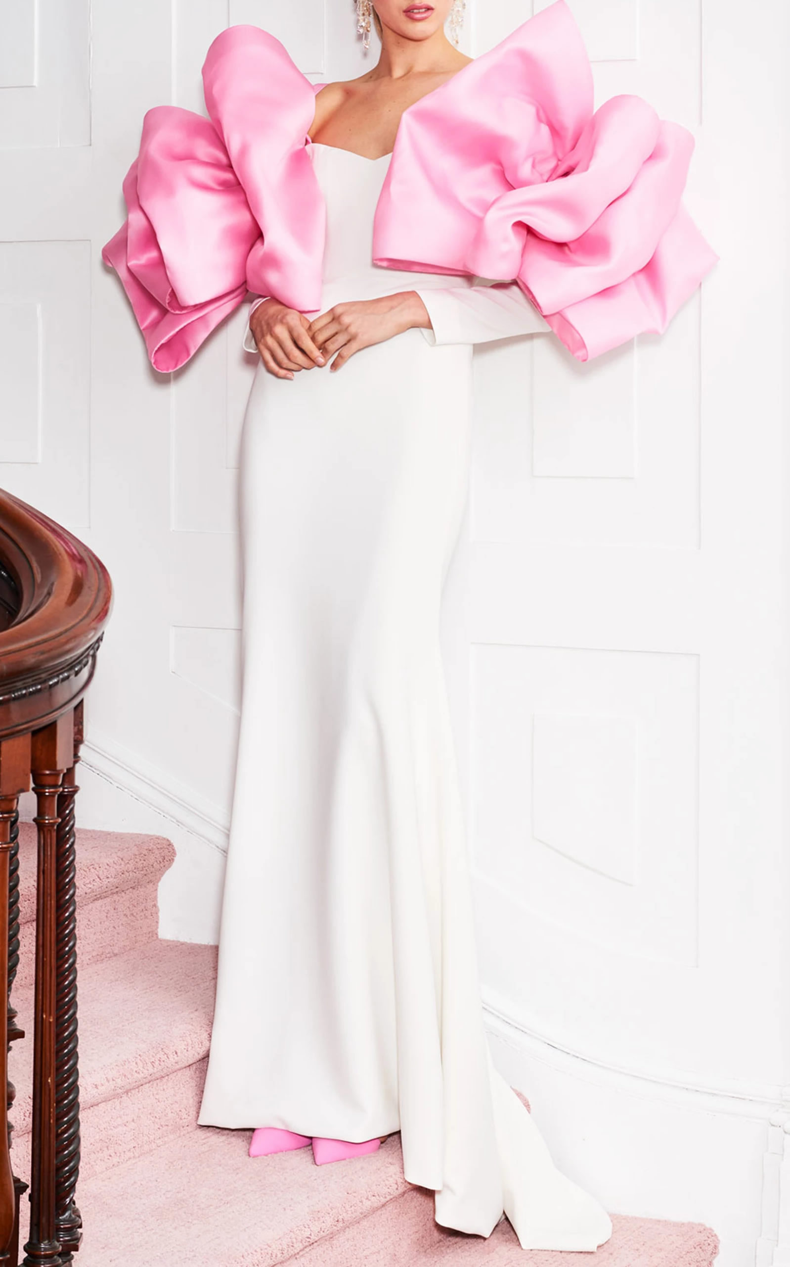 Christian Siriano - Pink Organza Bow Sleeve Gown