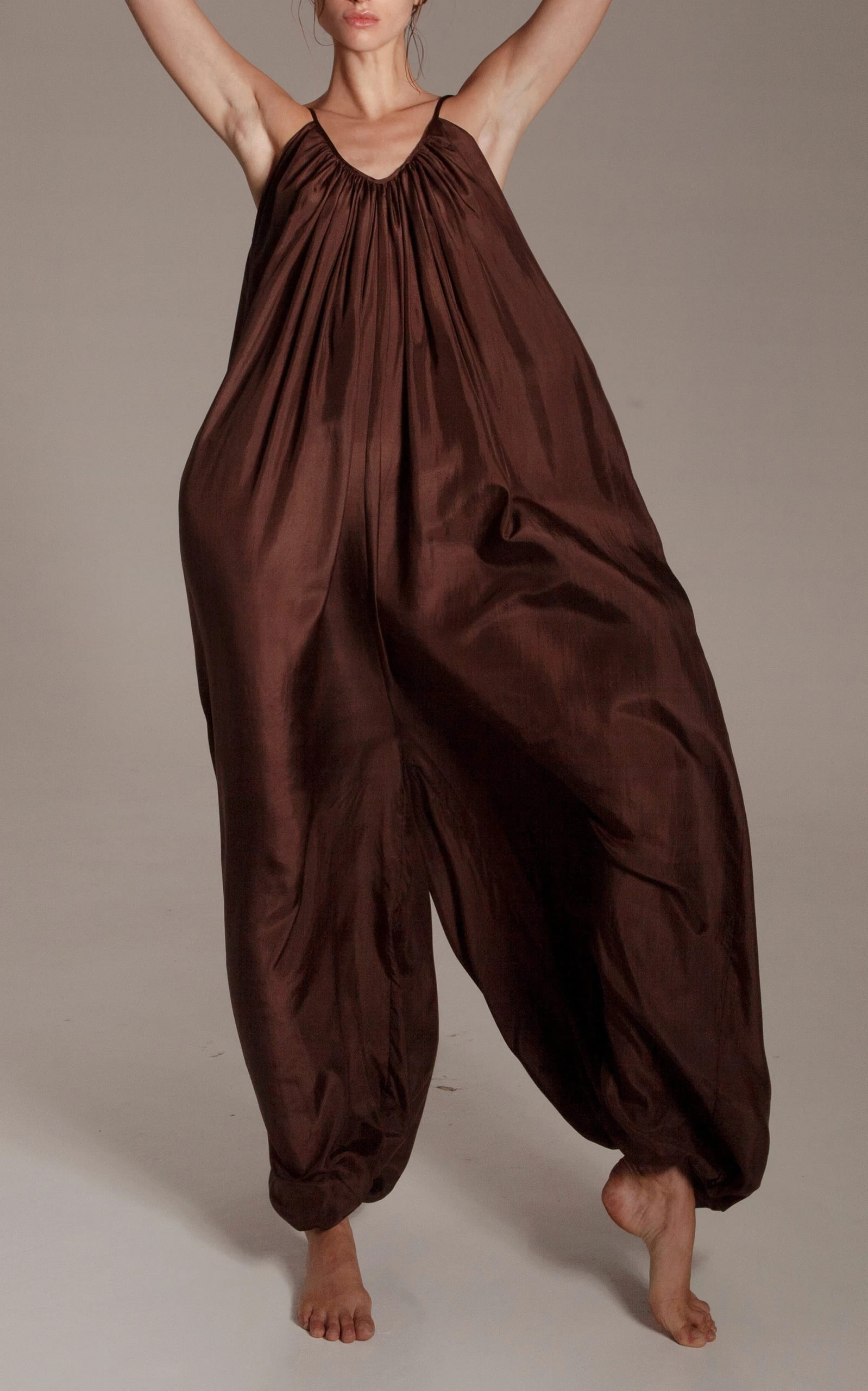 Kalita - Destination Wear - Brown Balloon Silk Jumpsuit