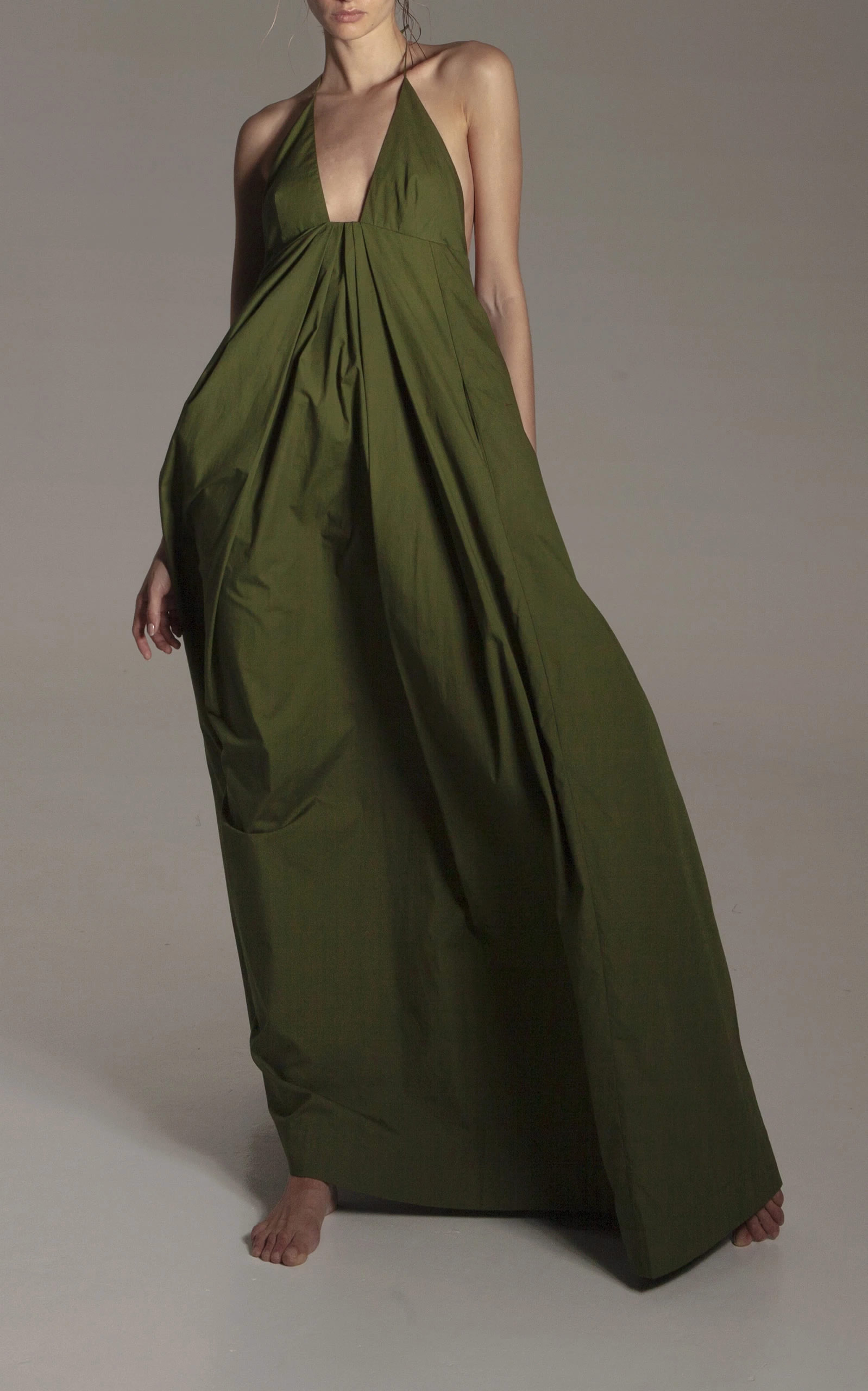 Kalita - Destination Wear - Green Atlas Poplin Dress