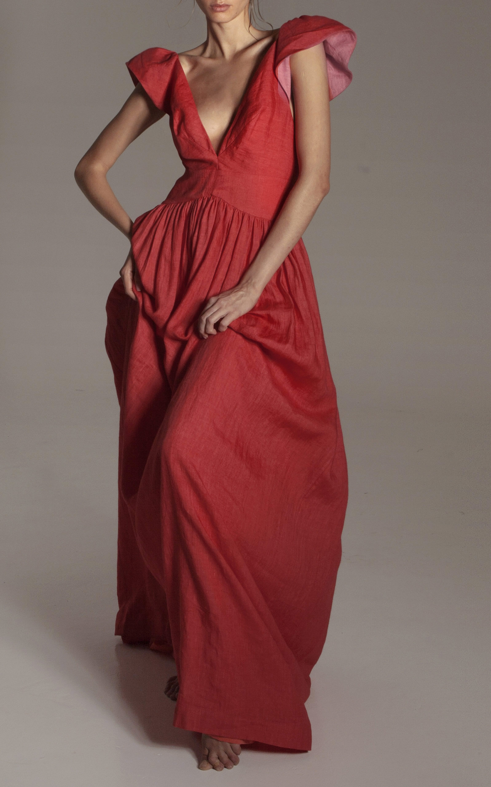 Kalita - Destination Wear - Red Persephone Linen Day Dress