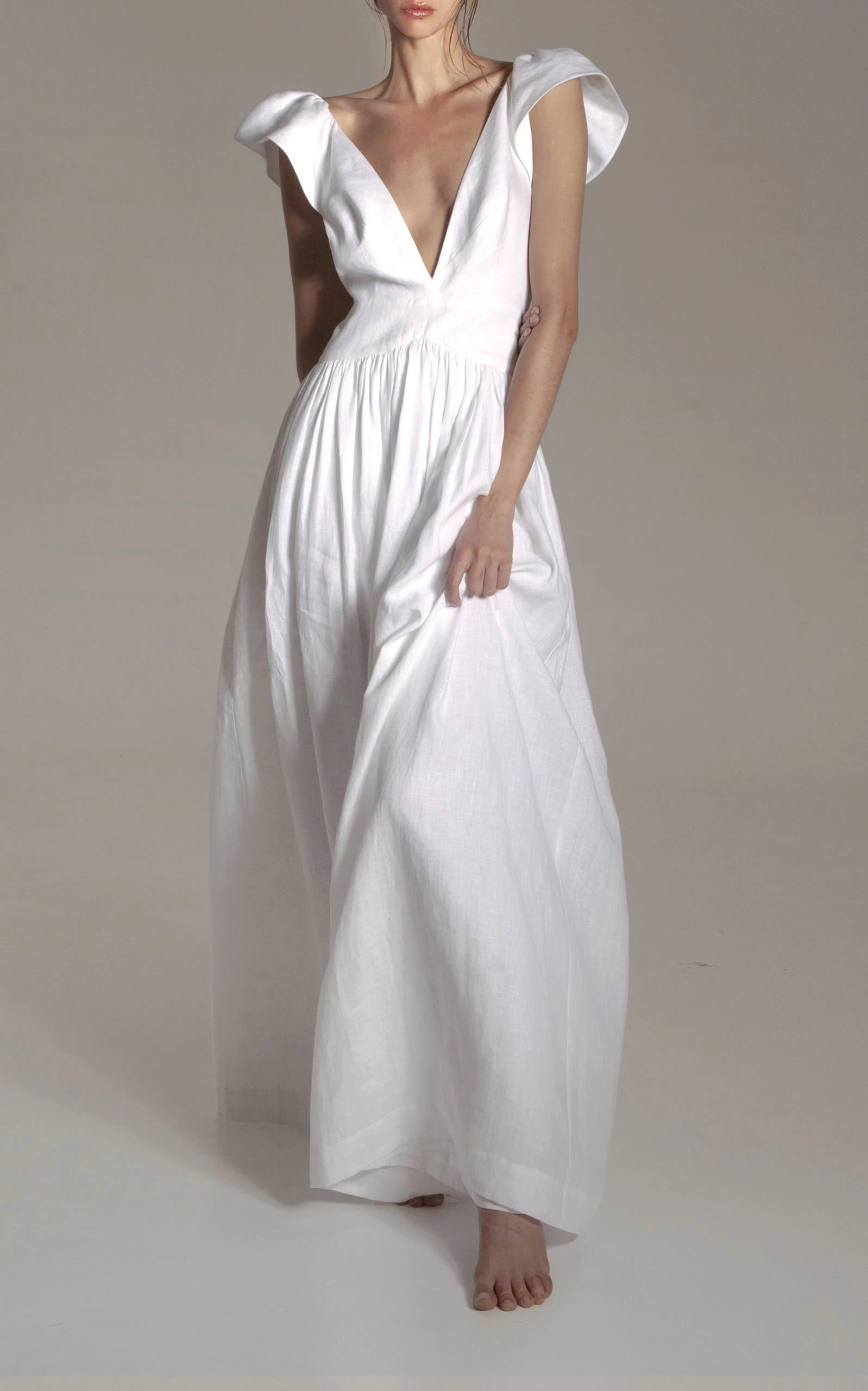 Kalita - Destination Wear - White Persephone Linen Day Dress
