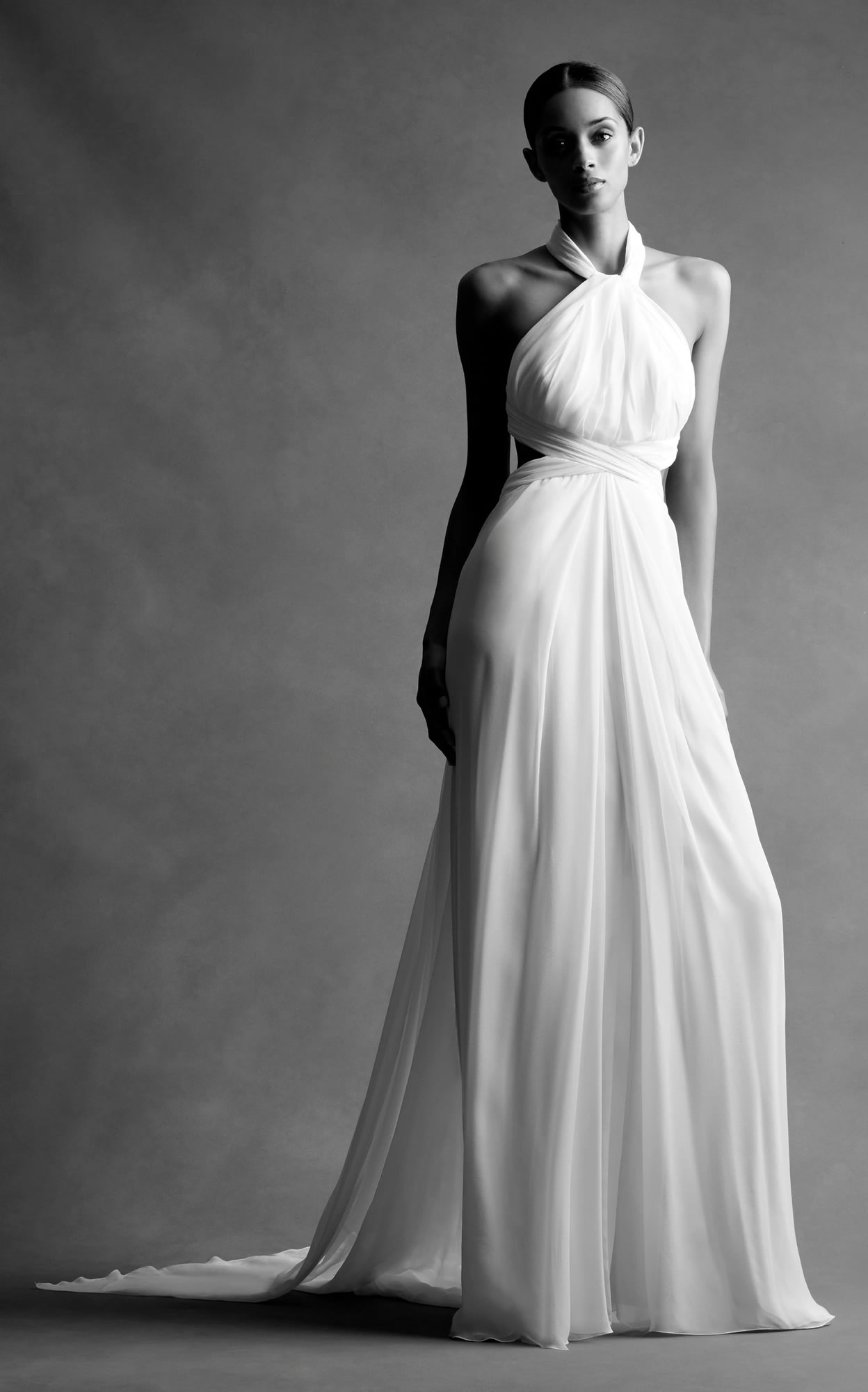 Mondo Bridal - Brandon Maxwell Bridal - Chiffon Cross Back Gown