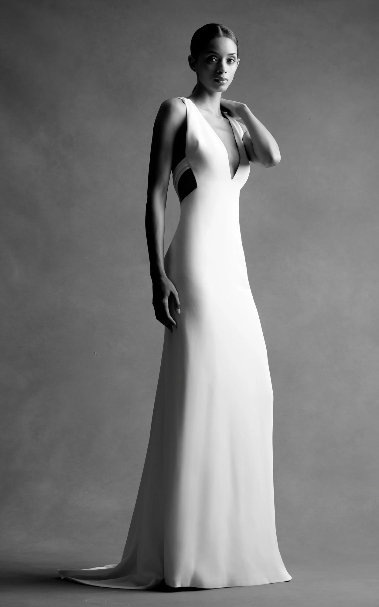 Mondo Bridal - Brandon Maxwell Bridal - Deep V Open Back Gown
