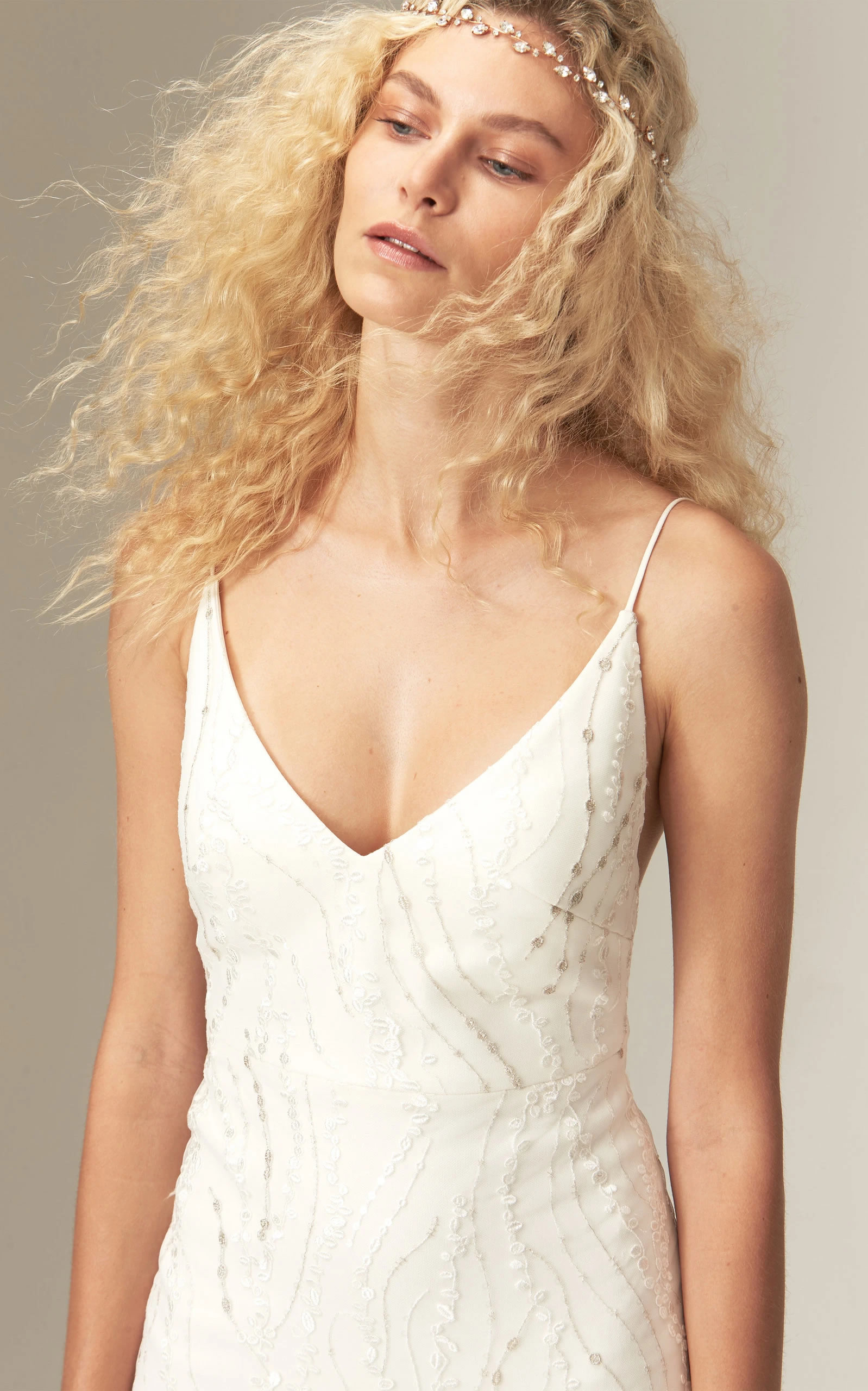 Savannah Miller - Mariel Fitted V Neck Embroidered Crepe Gown With Train