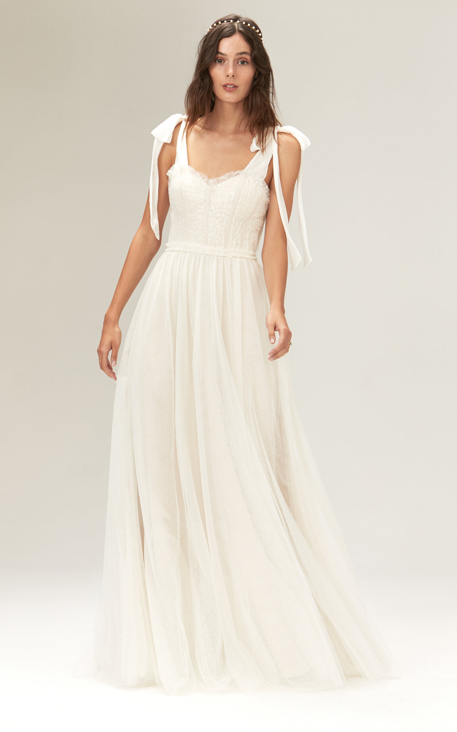 Savannah Miller - Minnie Fit And Flare Tulle Gown With Sequins And Layered Tulle