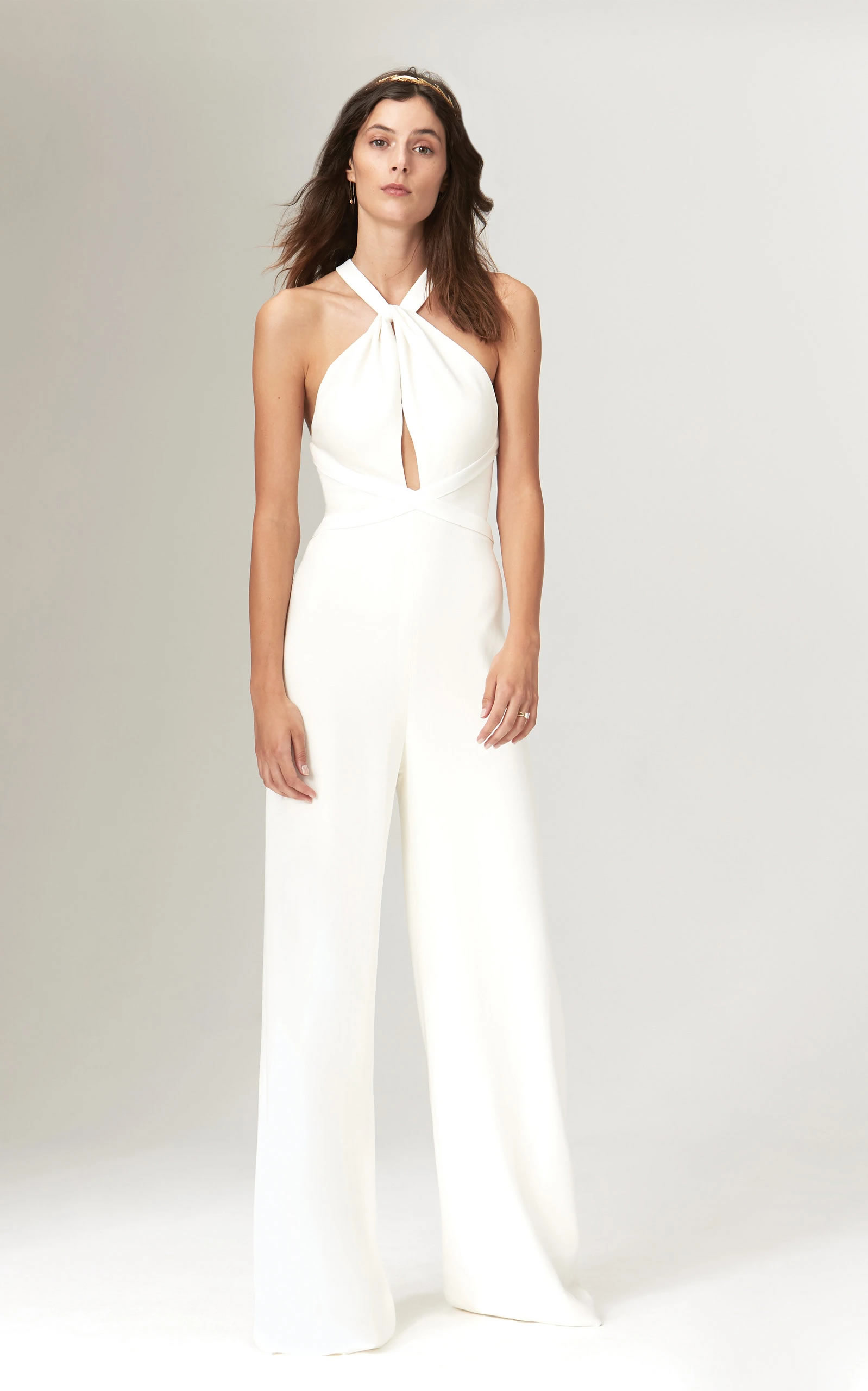 Savannah Miller - Nancy Fitted Ivory Crepe Jumpsuit