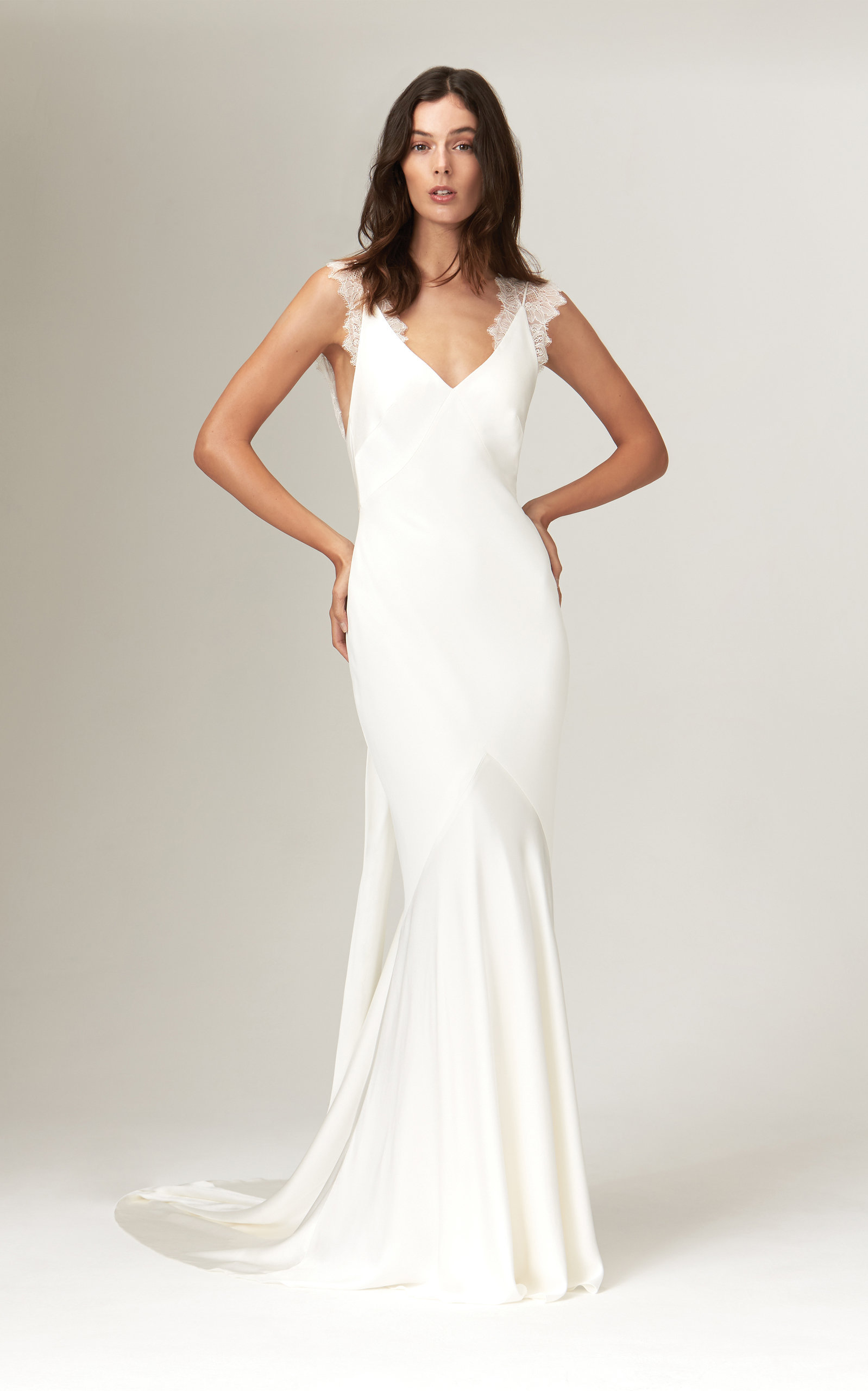 Savannah Miller - Alma Deep V Satin Gown With Chantilly Lace Trim Straps
