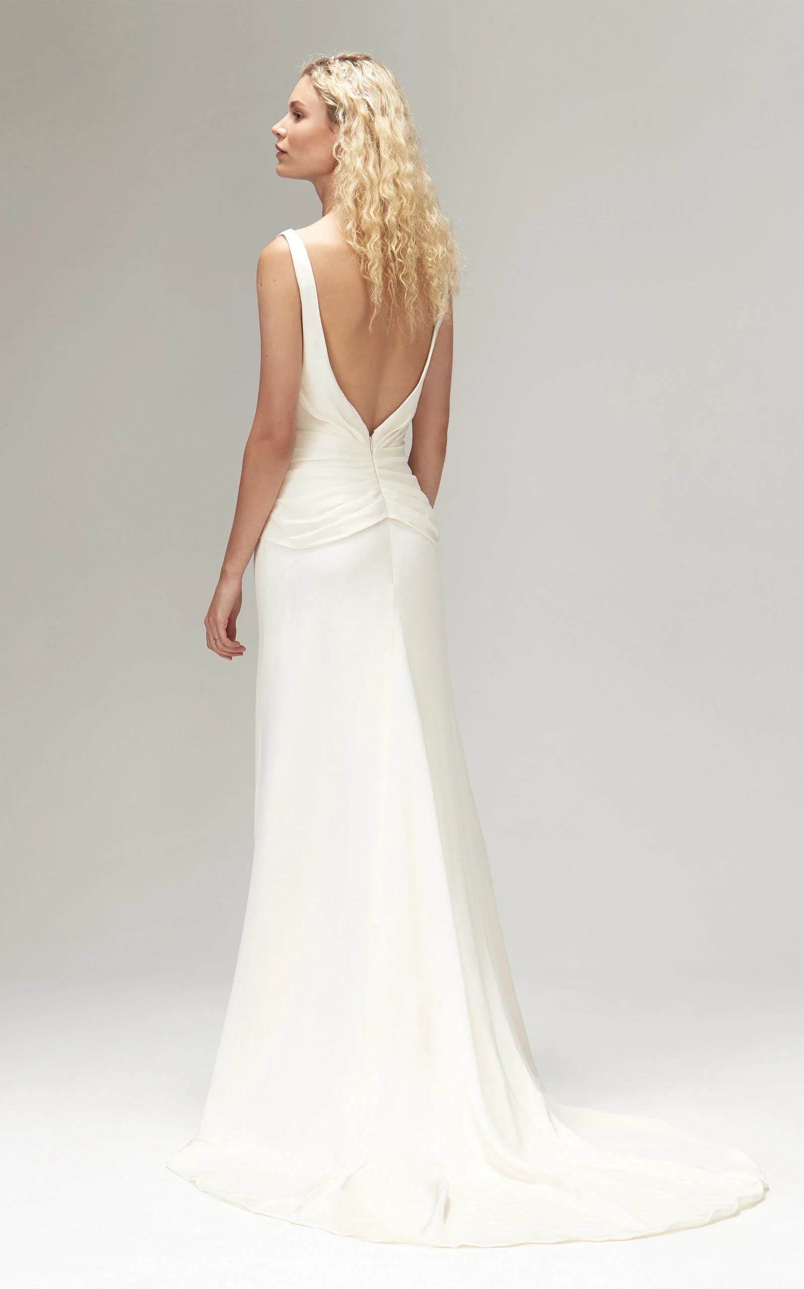 Savannah Miller - Amadine Crepe Plunging Back Gown With Side Split