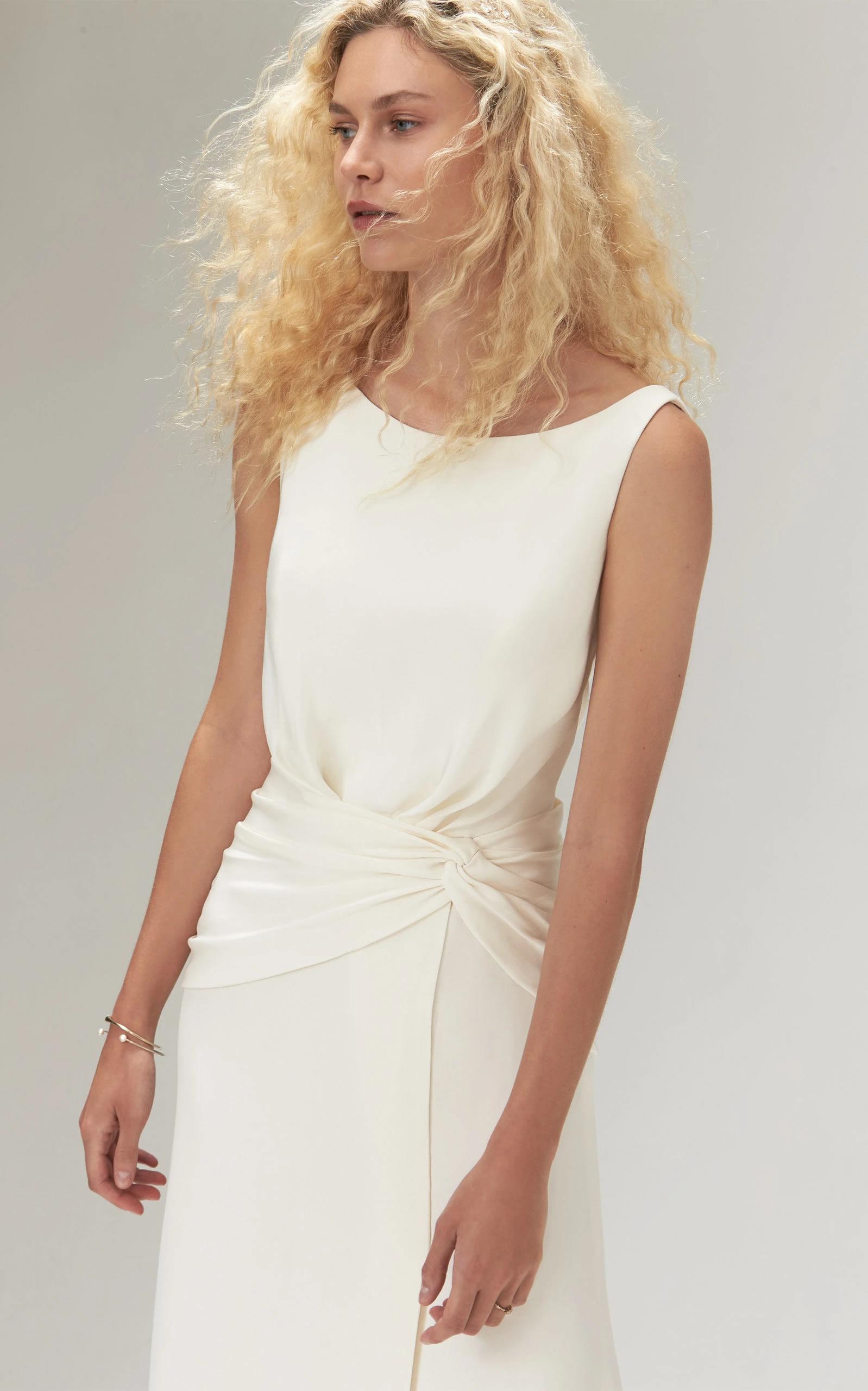Savannah Miller - Amadine Crepe Plunging Back Gown With Side Split