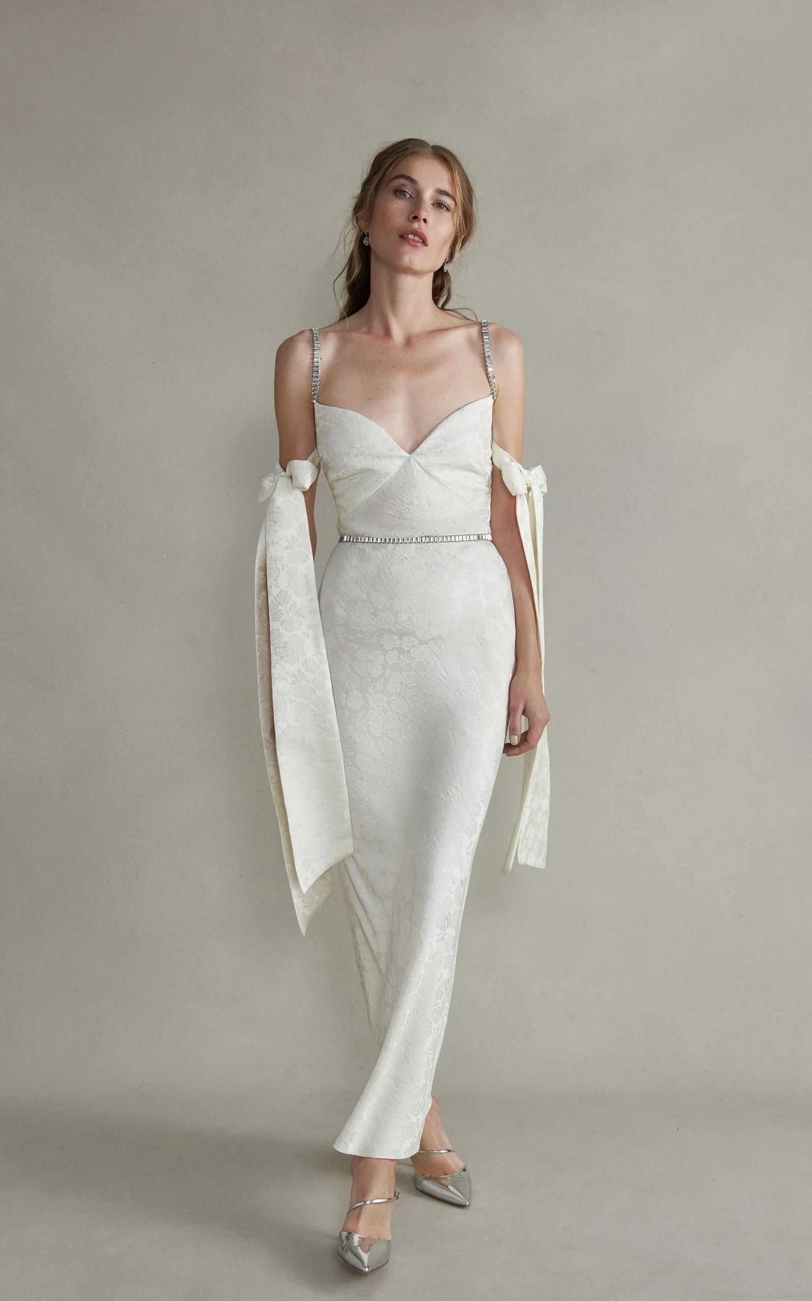 Markarian - Rhett Jeweled Cami Strap Dress With Arm Bow Detail