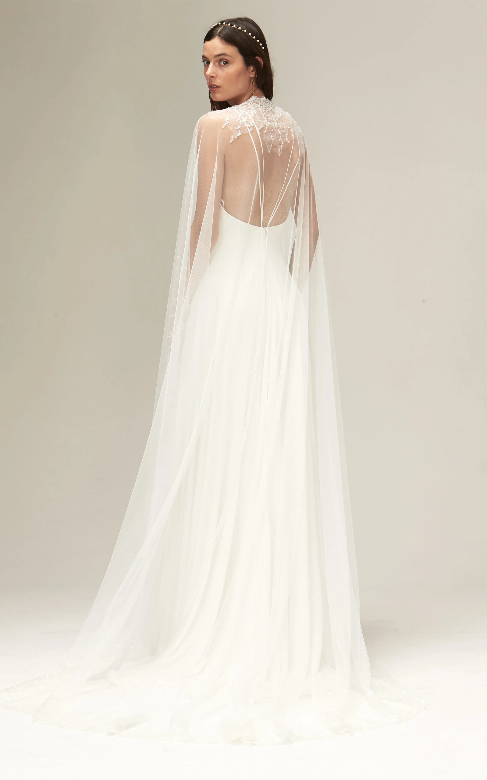 Savannah Miller - Vreeland Sequined Tulle Cape With Extended Train