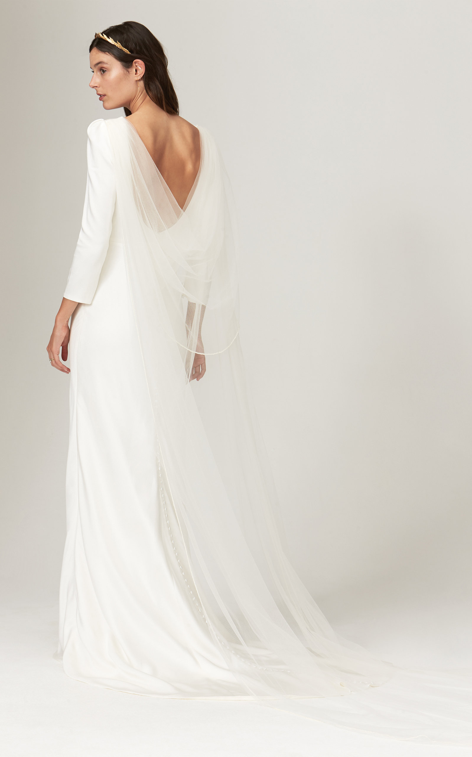 Savannah Miller - Gwendolyn Crepe Gown With Fitted Bracelet Sleeves And Open Back