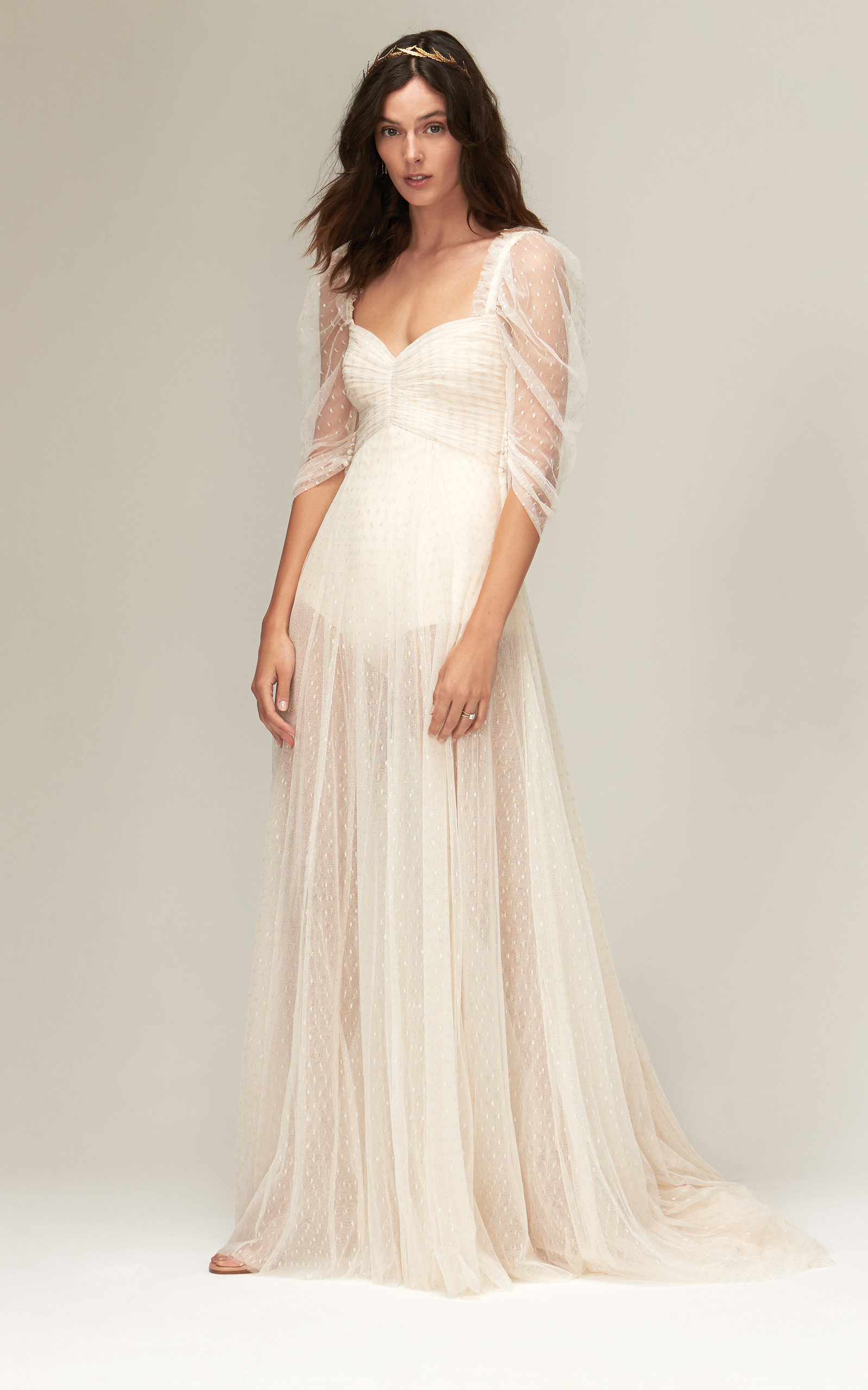 Savannah Miller - Clara Metallic Spot Tulle Gown With Transparent Puff Sleeve