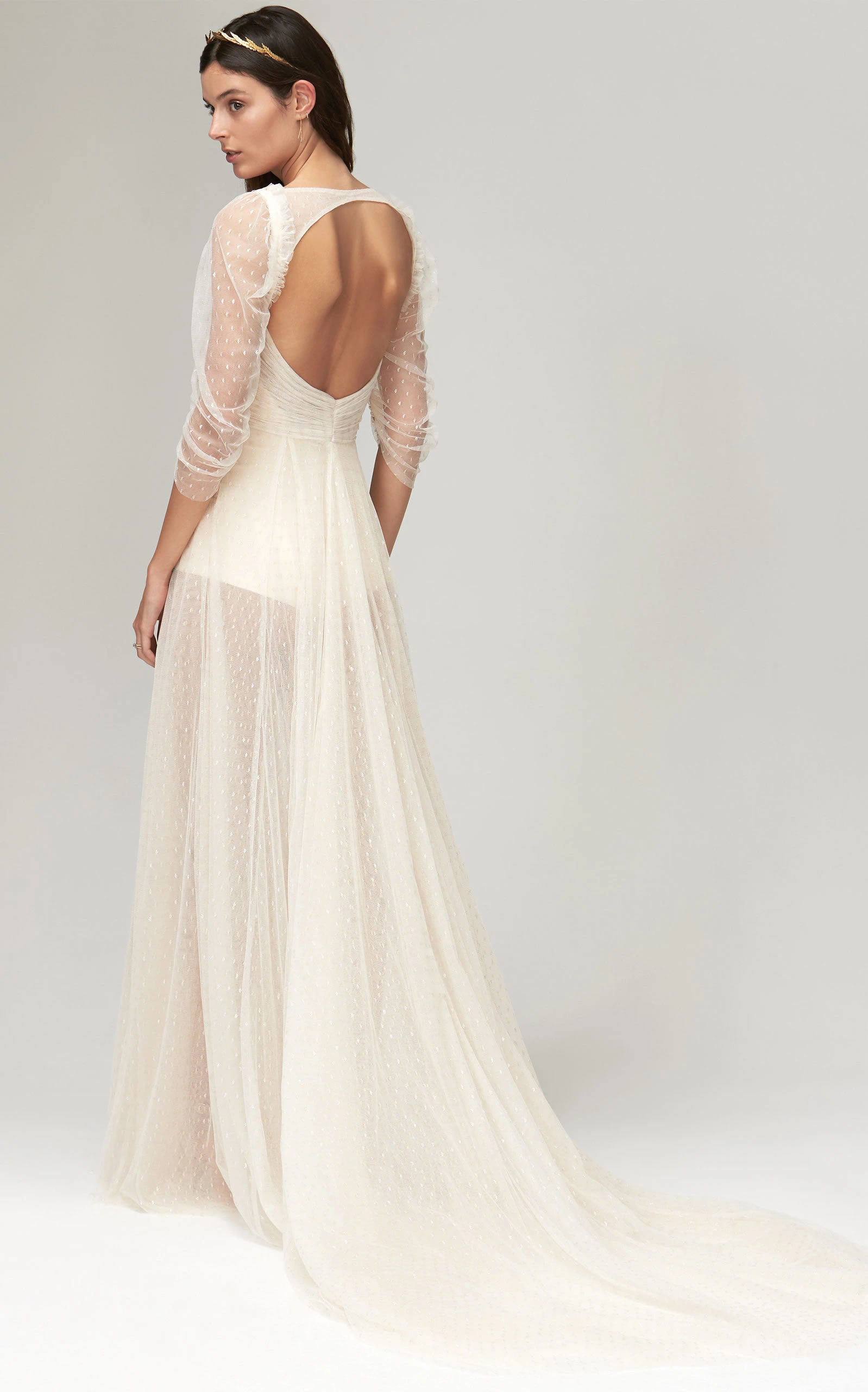 Savannah Miller - Clara Metallic Spot Tulle Gown With Transparent Puff Sleeve