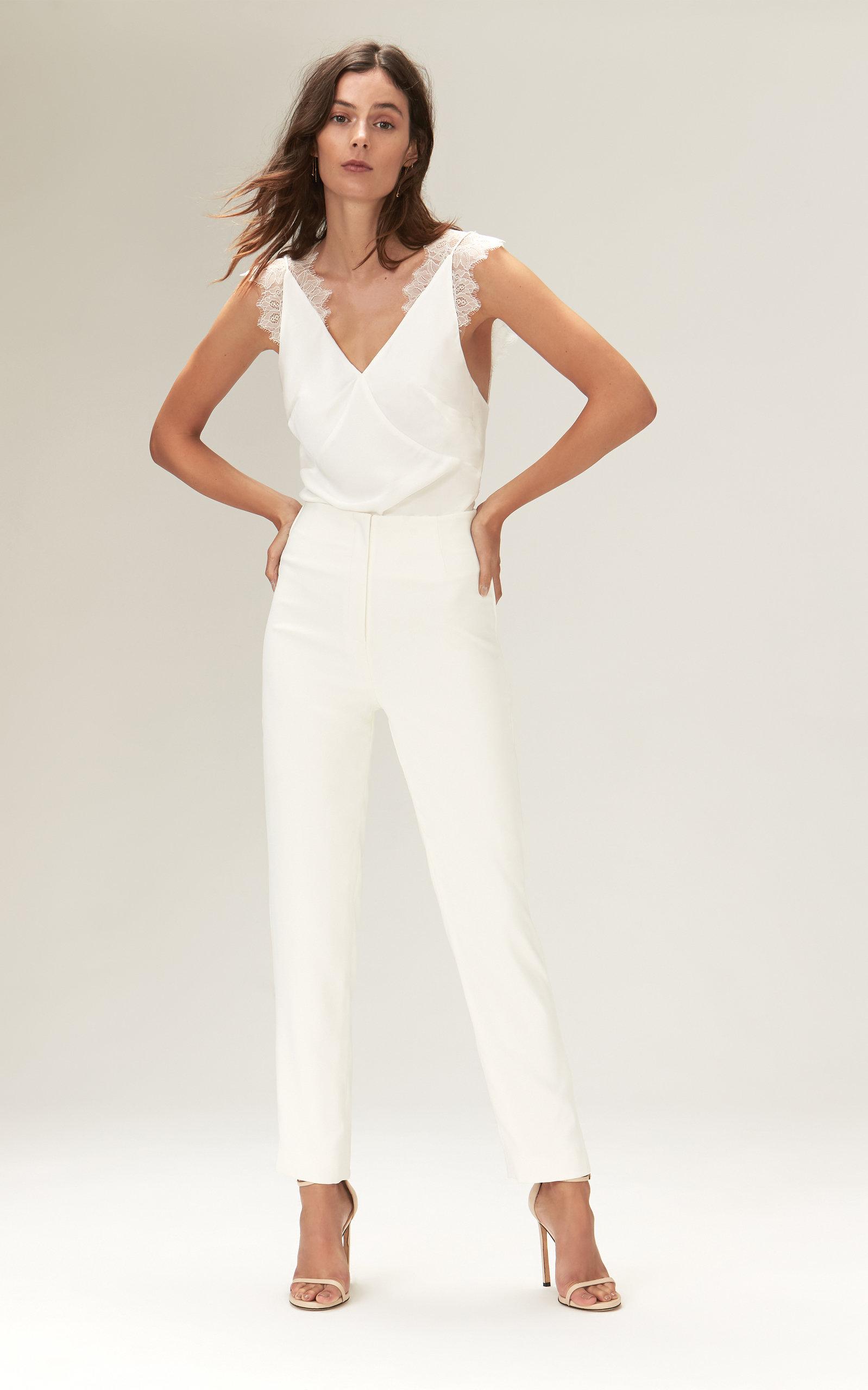 Savannah Miller - Lorraine Crepe Bodysuit With Chantilly Lace Straps