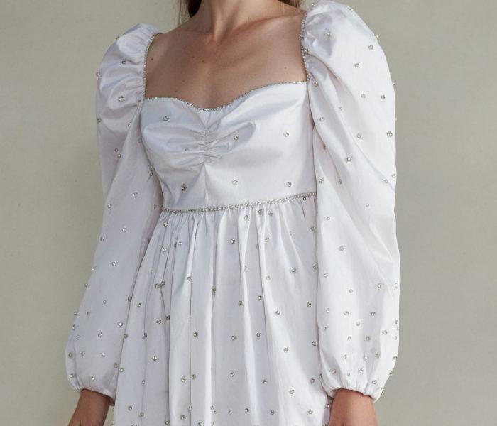 Markarian - Caspian Mini Silk Embellished Dress With Gathered Puff Sleeve