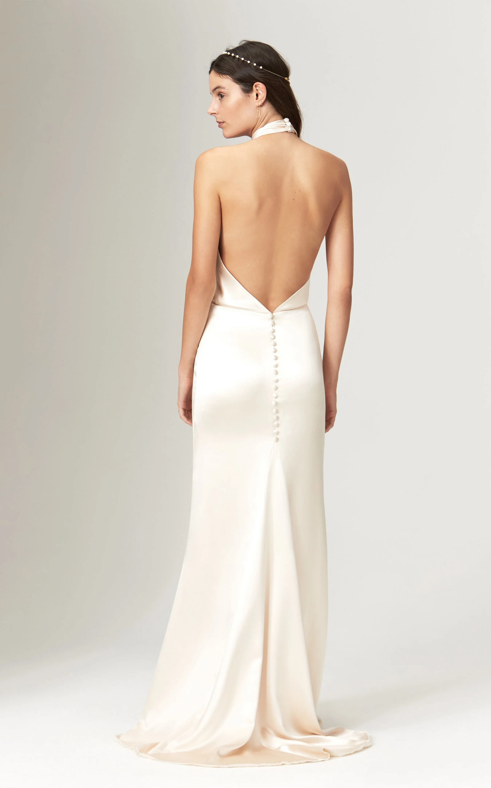 Savannah Miller - Ruby Silk Twisted Halter Neck Backless Gown With Train