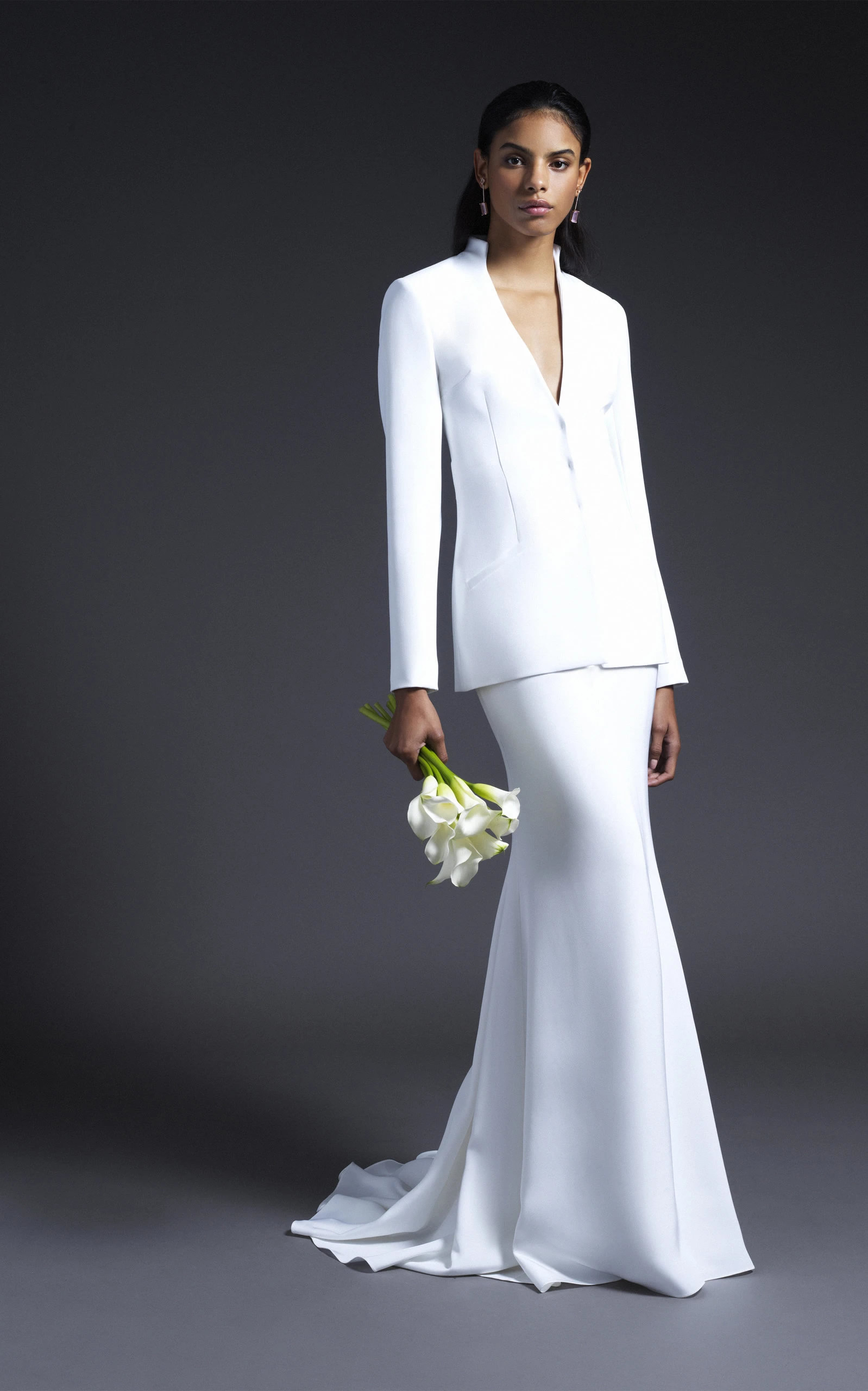 Cushnie Bridal - Alex Collarless Fitted Jacket With Open Back
