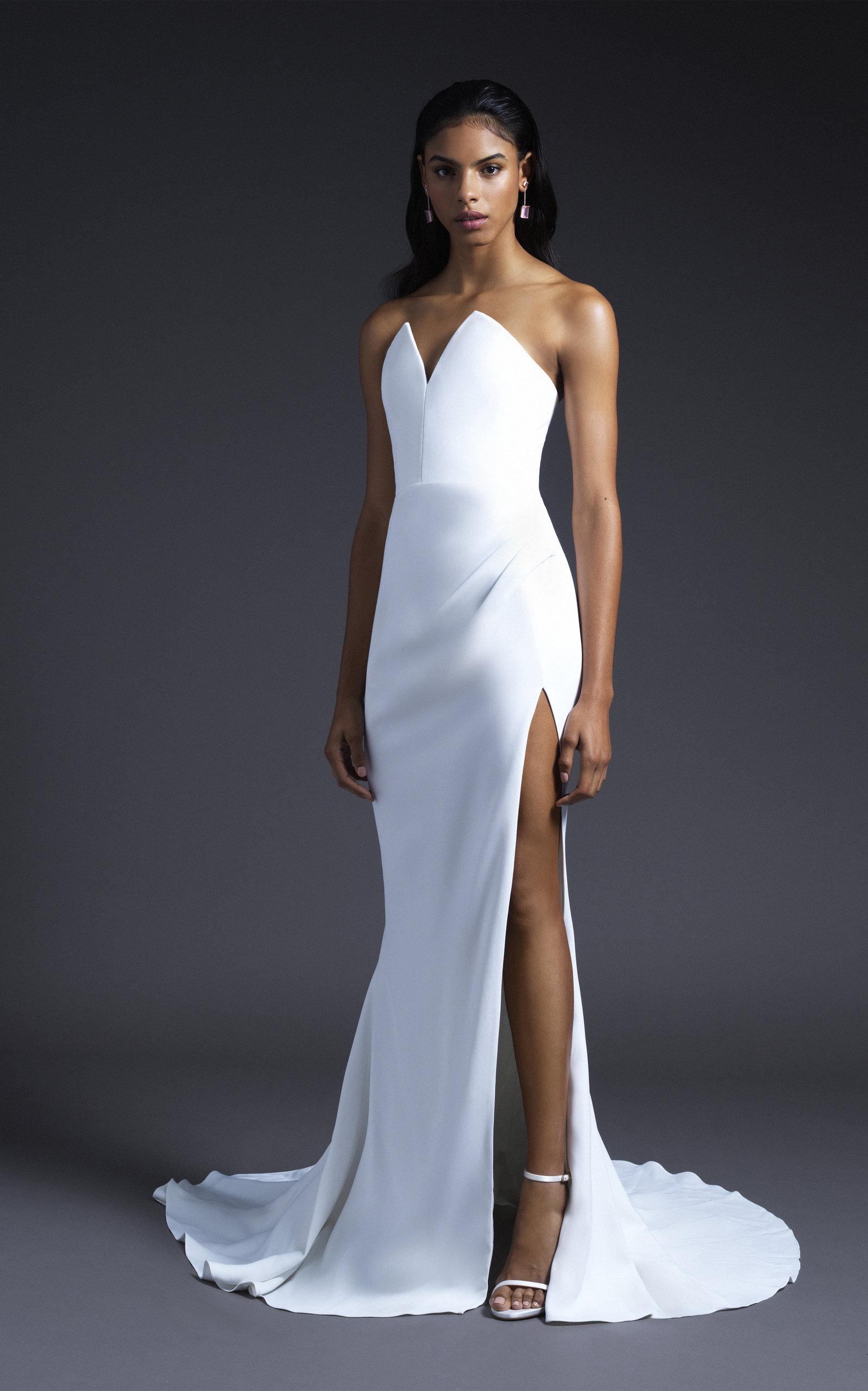 Cushnie Bridal - Bridal White Sasha Strapless Pointed Bodice Gown