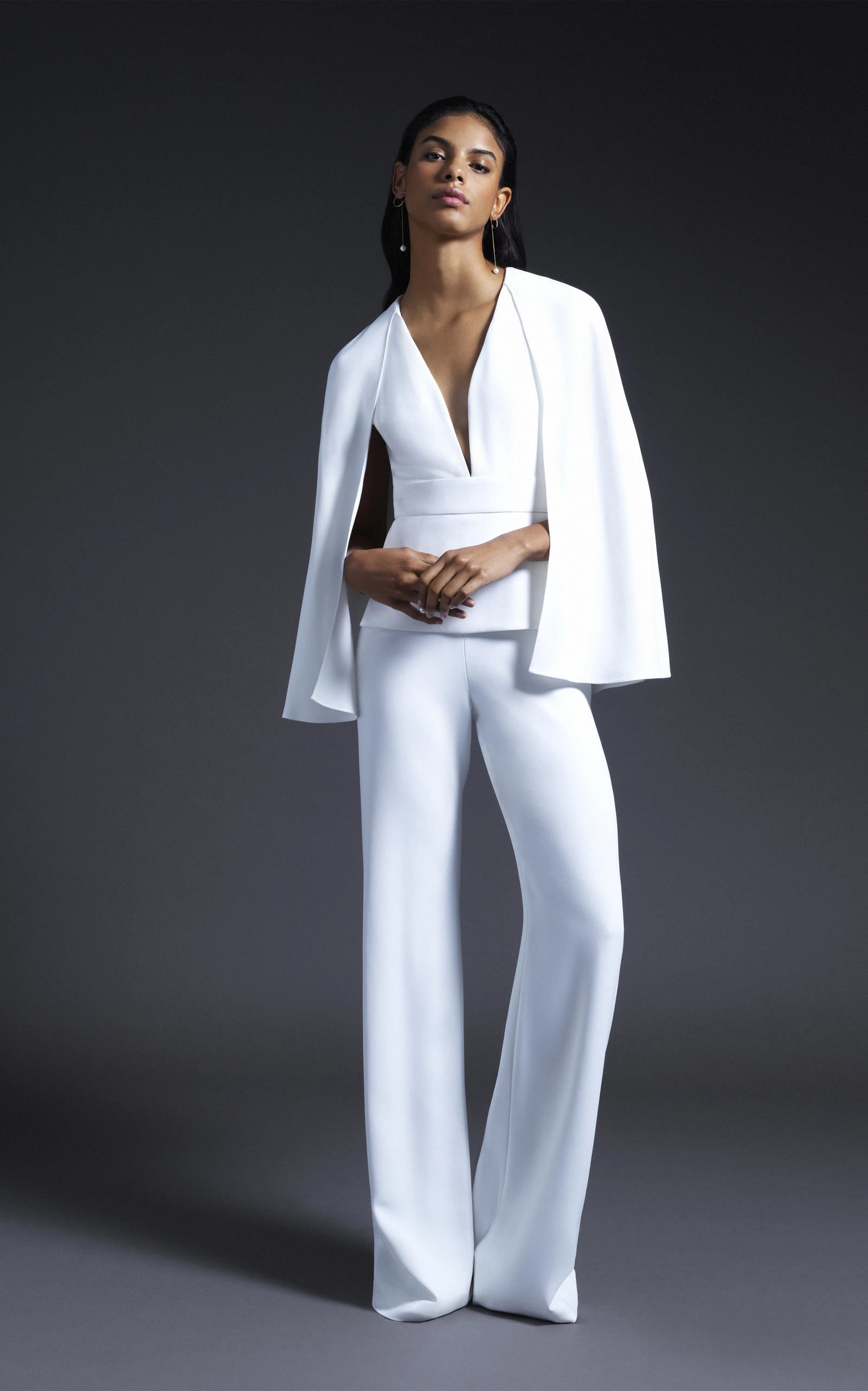 Cushnie Bridal - Bruna V Neck Jumpsuit With Cape