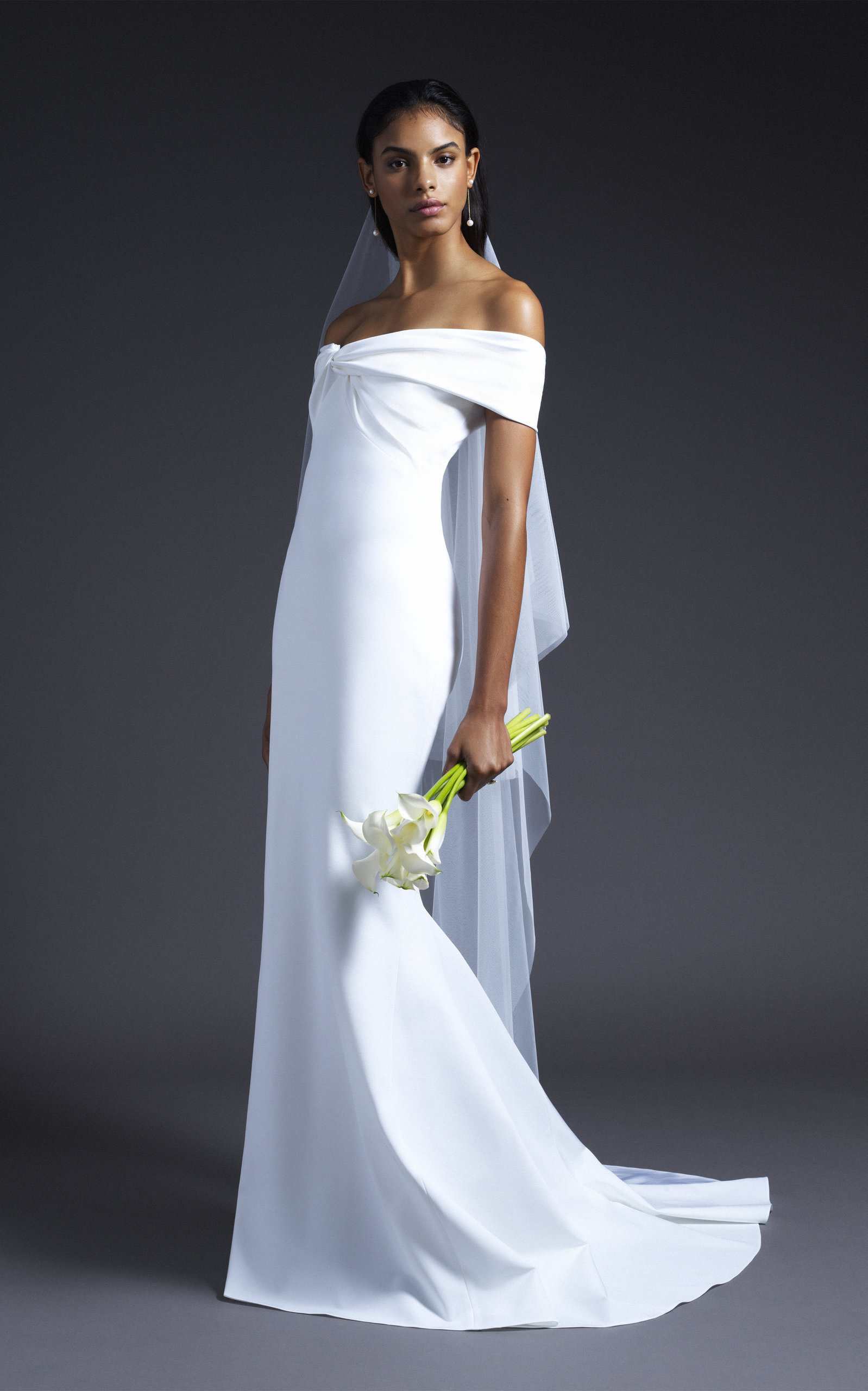 Cushnie Bridal - Candice Off Shoulder Bodice Gown With Train