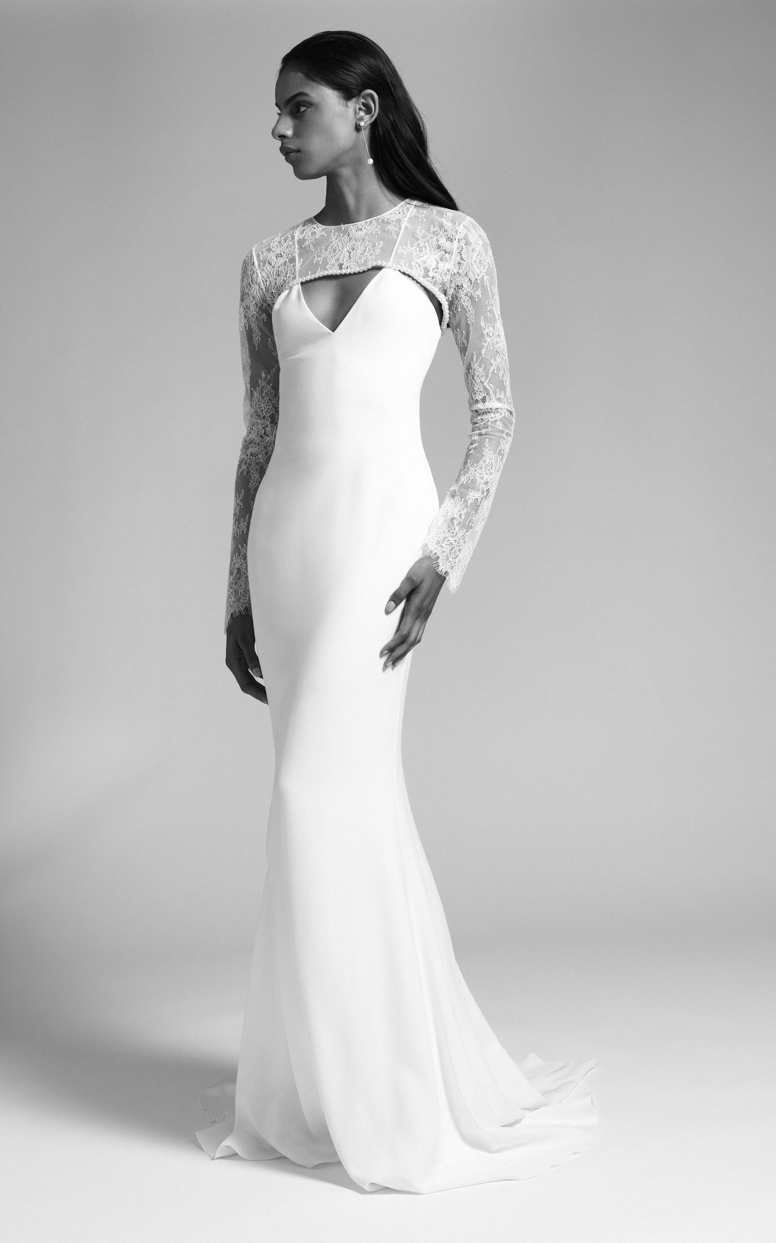 Cushnie Bridal - Cindy V Neck Silk Gown With Lace Bodice