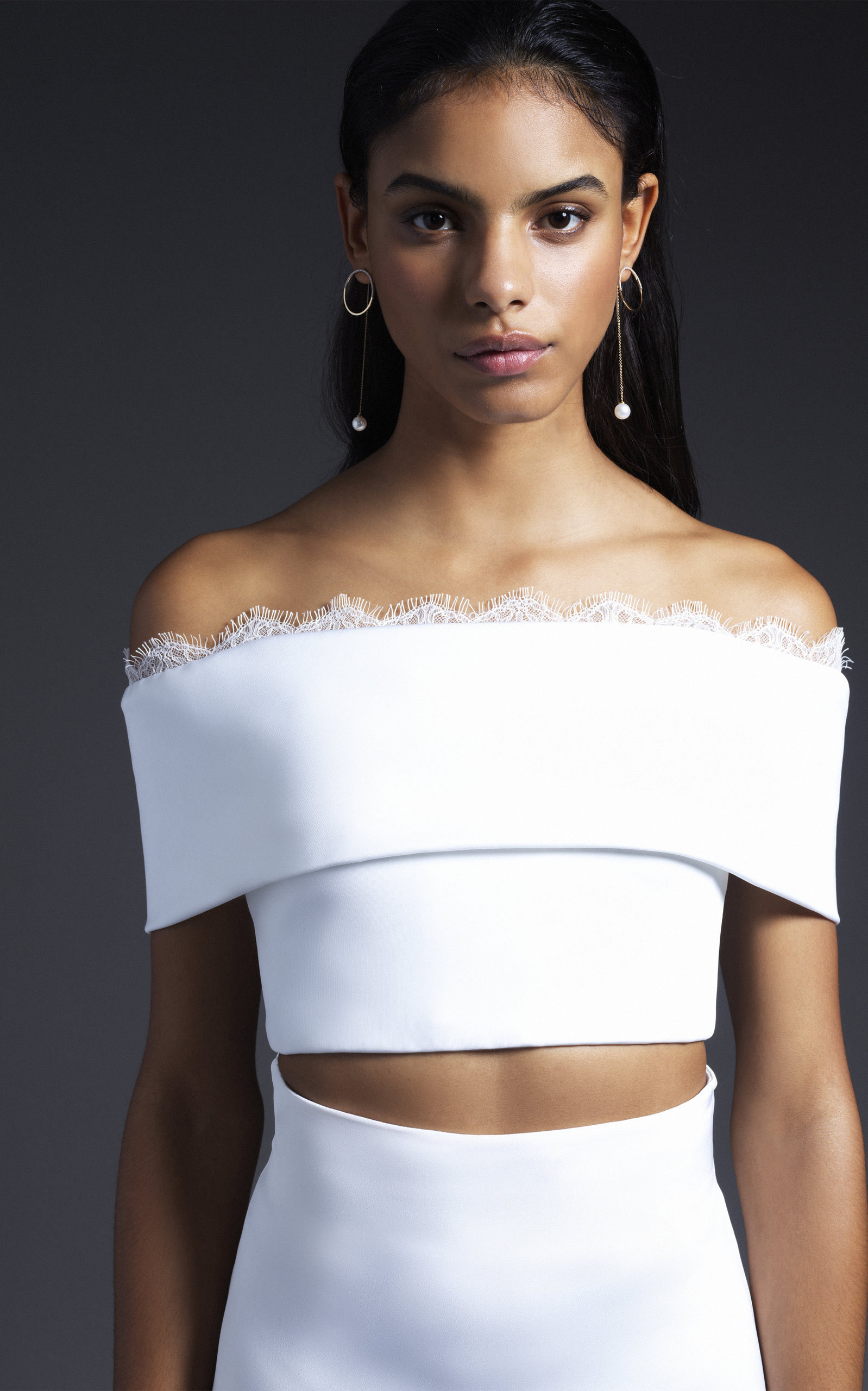 Cushnie Bridal - Grace Off Shoulder Crop Top With Lace Trim