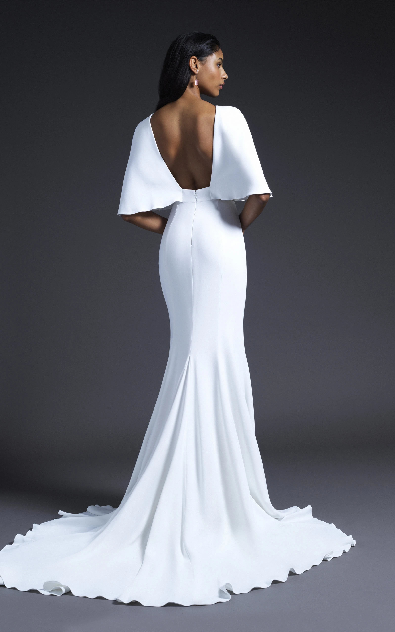 Cushnie Bridal - Lydia Open Back Cape Sleeved Gown With Train