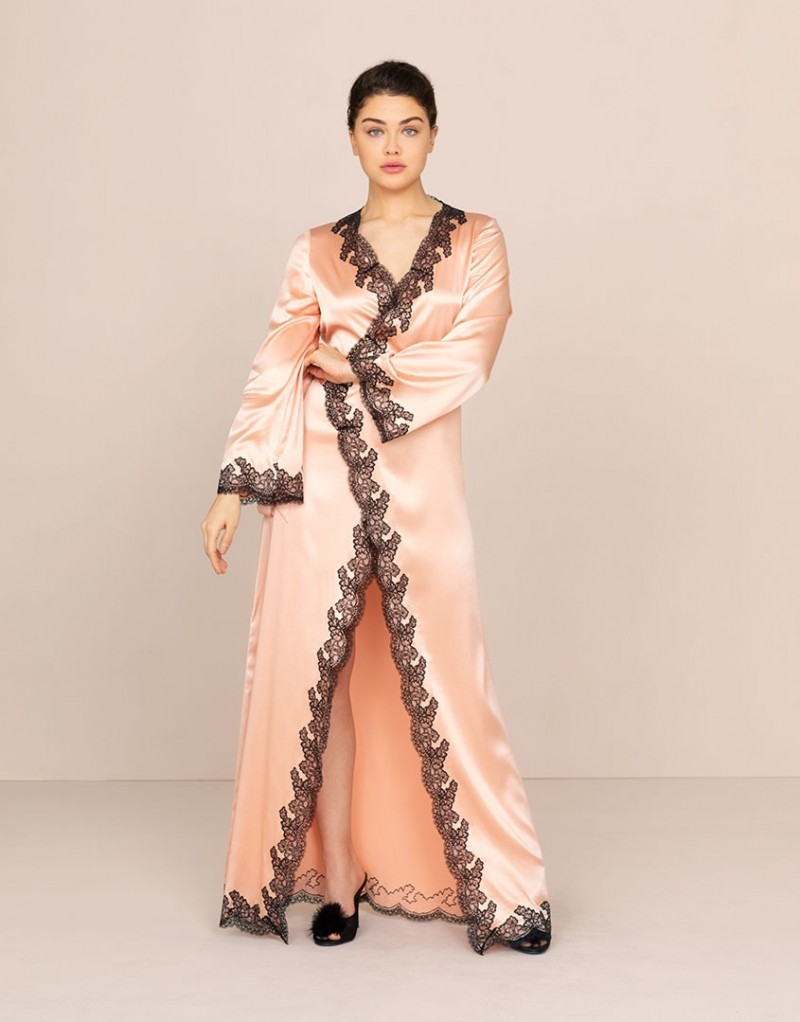 Bridal Nightwear – Amelea Long Gown Pink and Black