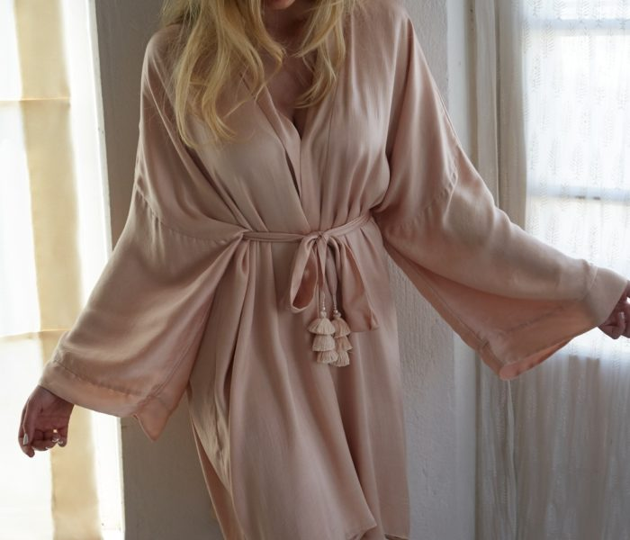 Celine Satin Bridal Robe – Short by Bo & Luca
