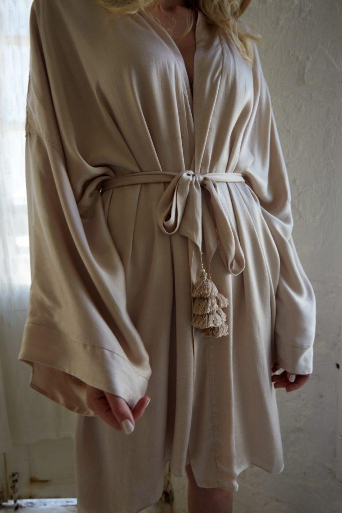 Celine Satin Bridal Robe – Short by Bo & Luca