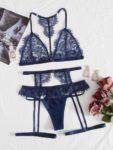 Floral Lace Garter Lingerie Set in Navy Blue